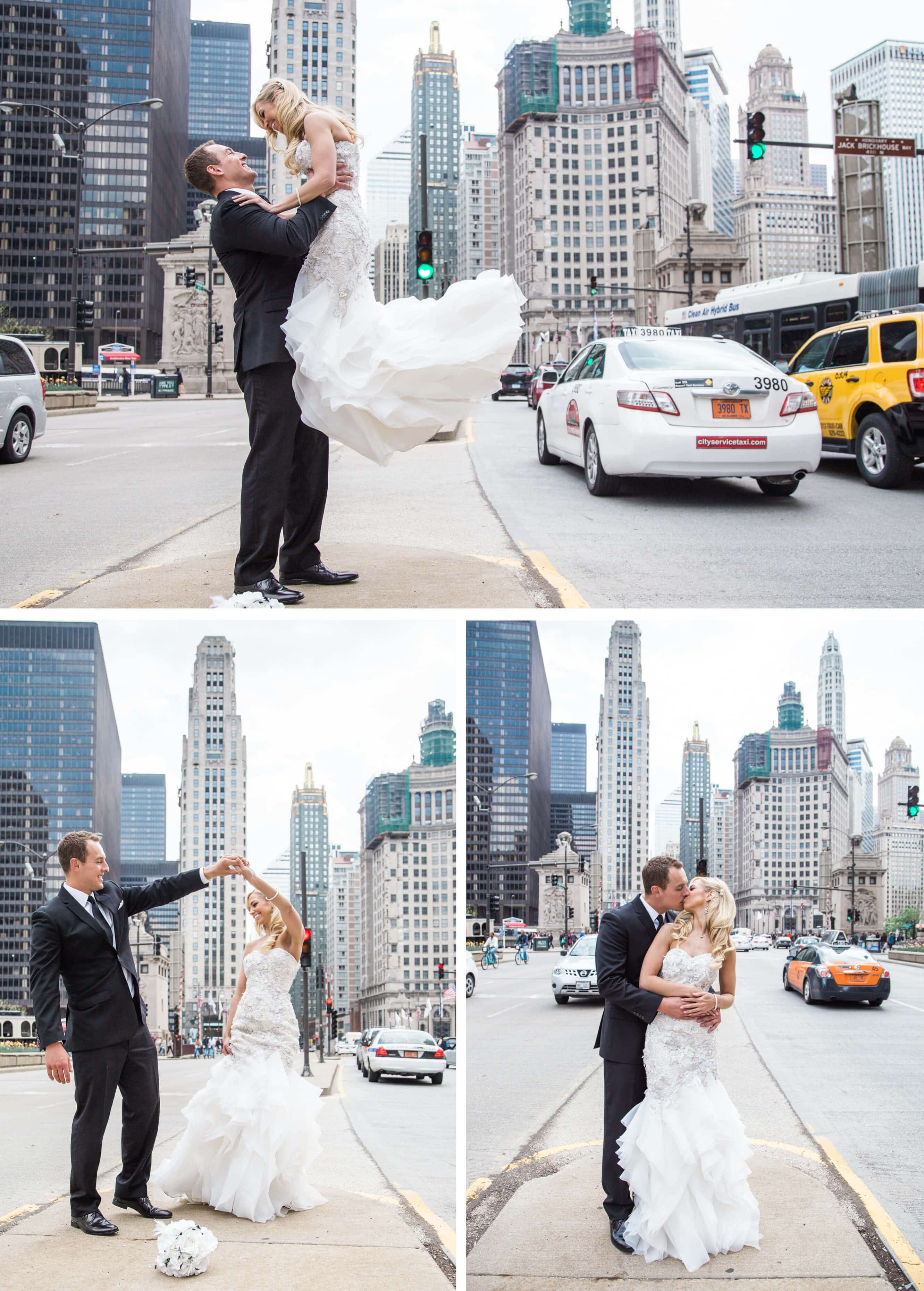 Bride and groom portraits in downtown Chicago _ Brighton Wedding Photographer