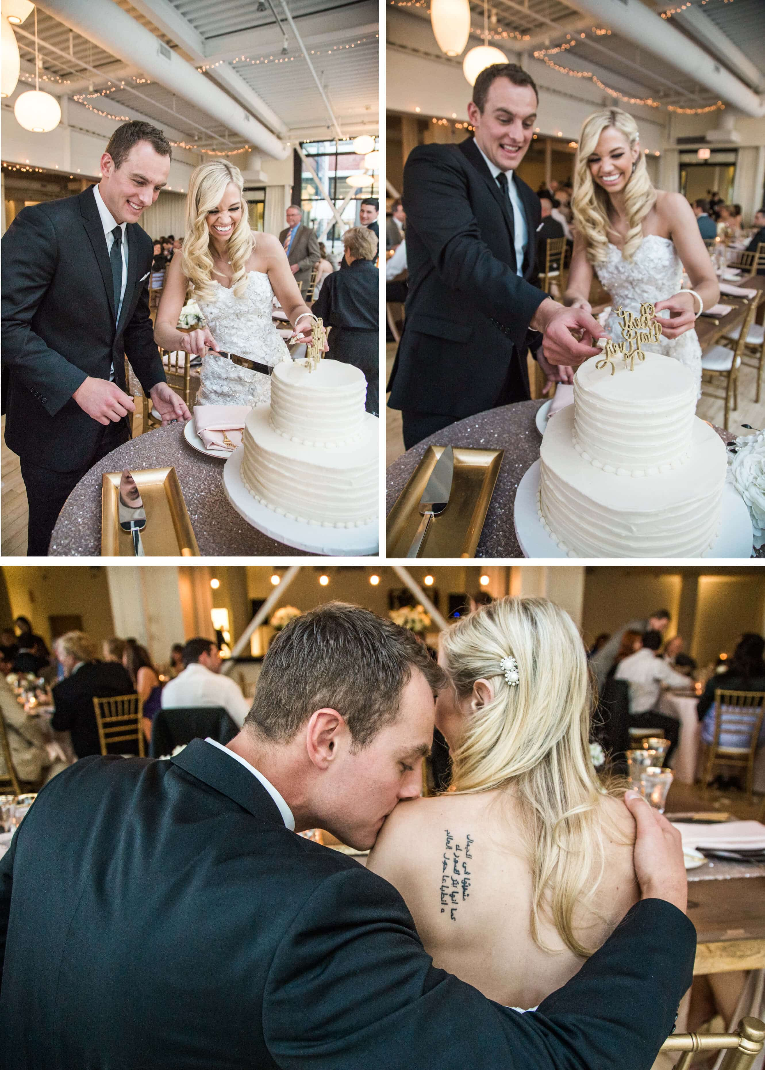 Chicago Greenhouse Loft cake cutting at reception _ Brighton Wedding Photographer