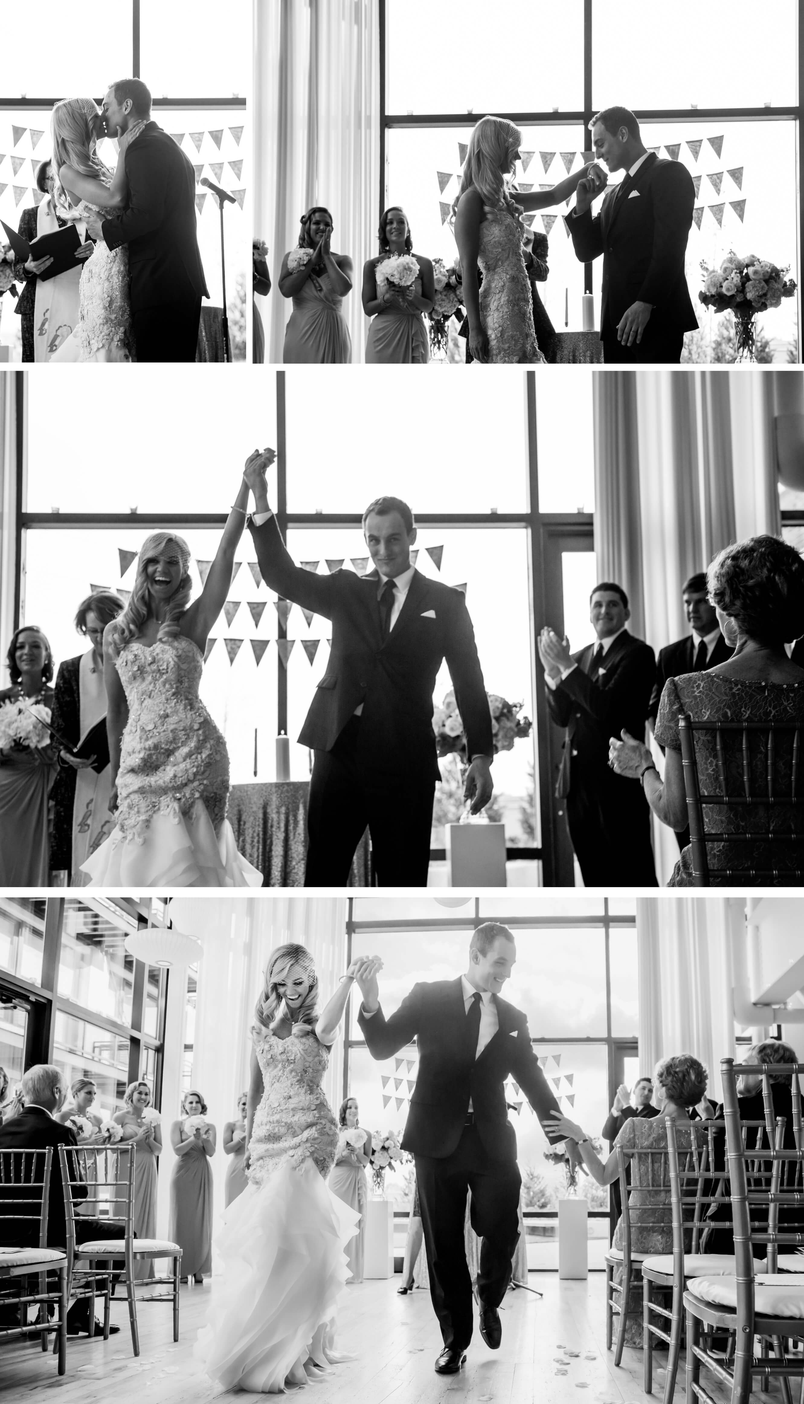 Groom reaction during wedding exit recessional after ceremony at Chicago Greenhouse Loft_ Brighton Wedding Photographer