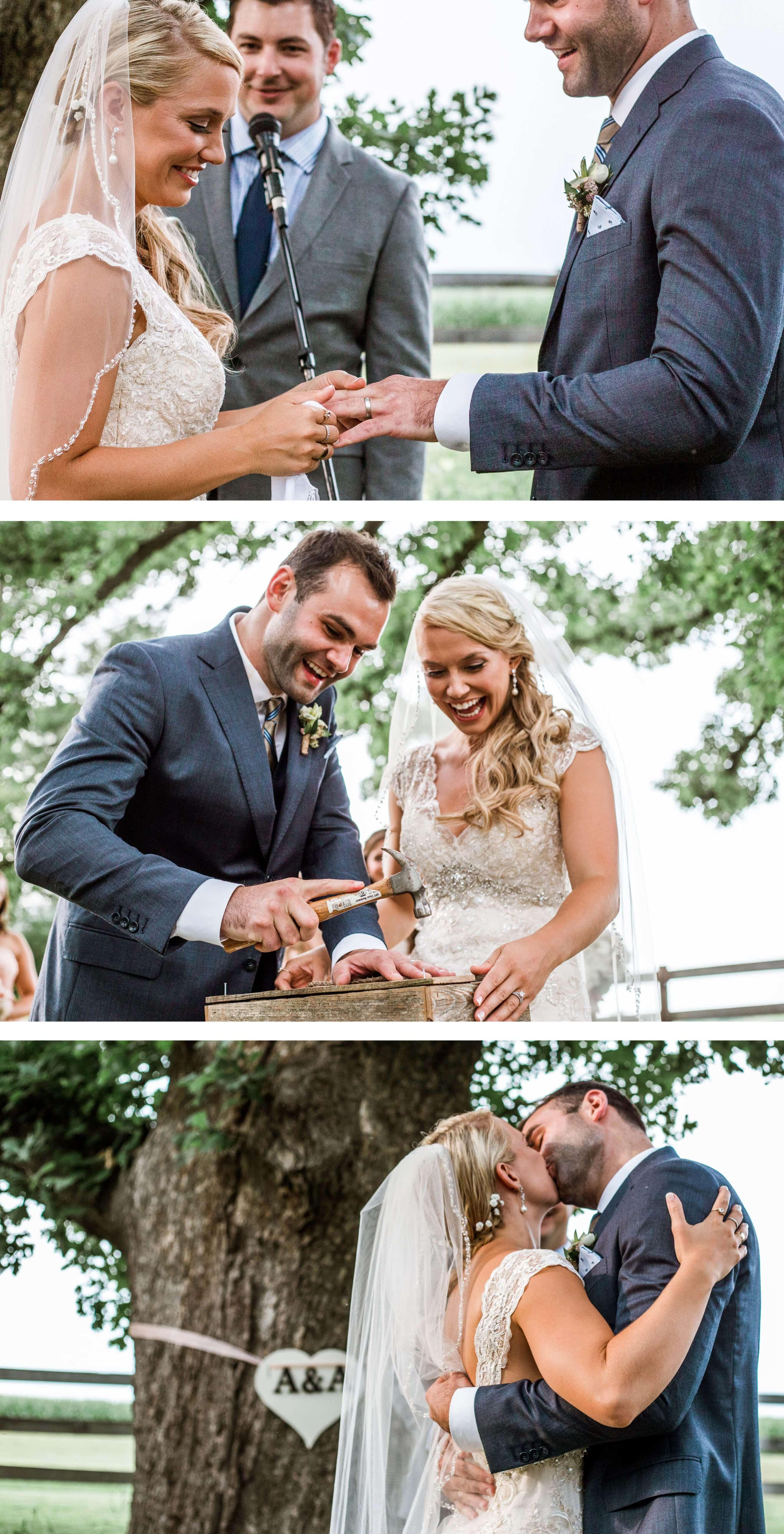 Sugarland Barn ceremony under oak tree - Sussex Wedding Photographer