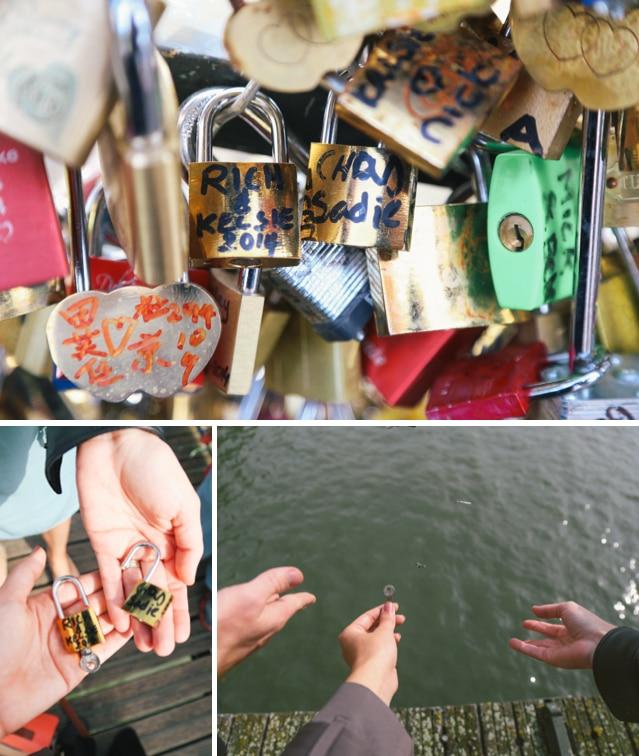 love lock bridge Pont de l'Archeveche paris