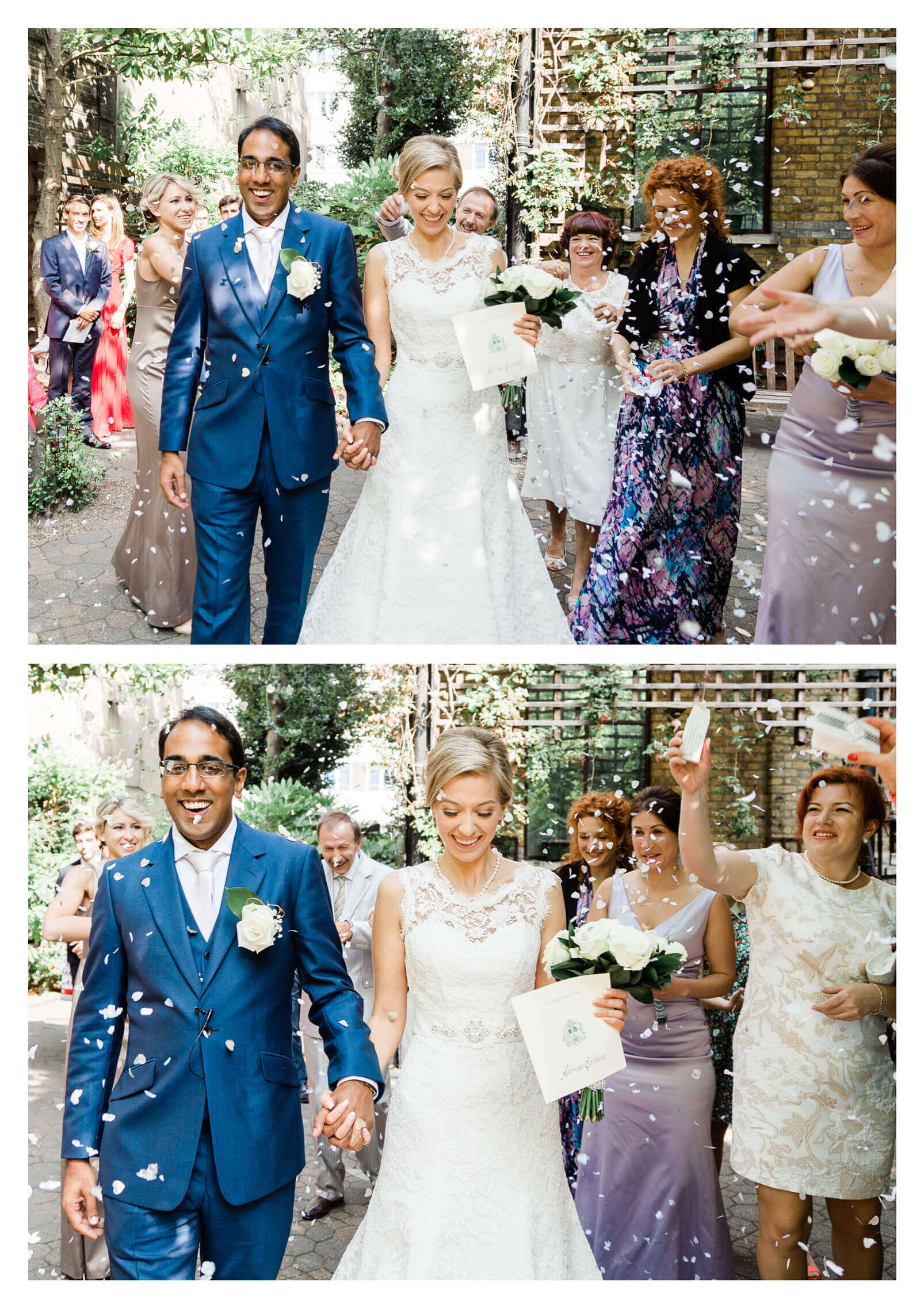Bromley Public Hall wedding ceremony floral confetti tunnel | London photographer