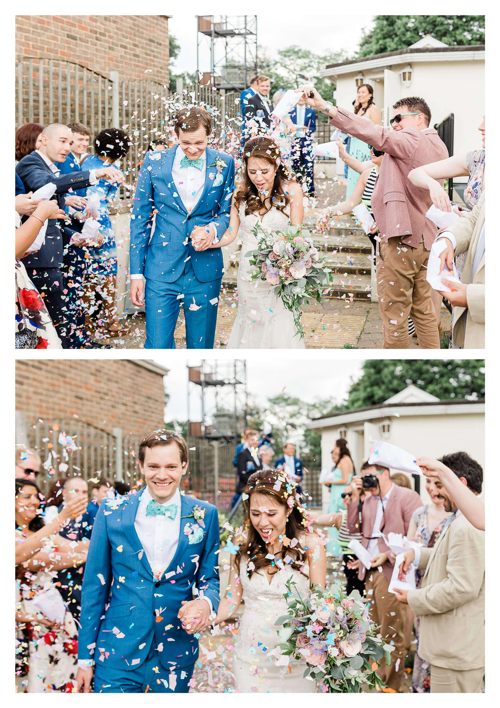 Confetti tunnel outside The Mansion House wedding in Tunbridge Wells | Kent wedding photographer