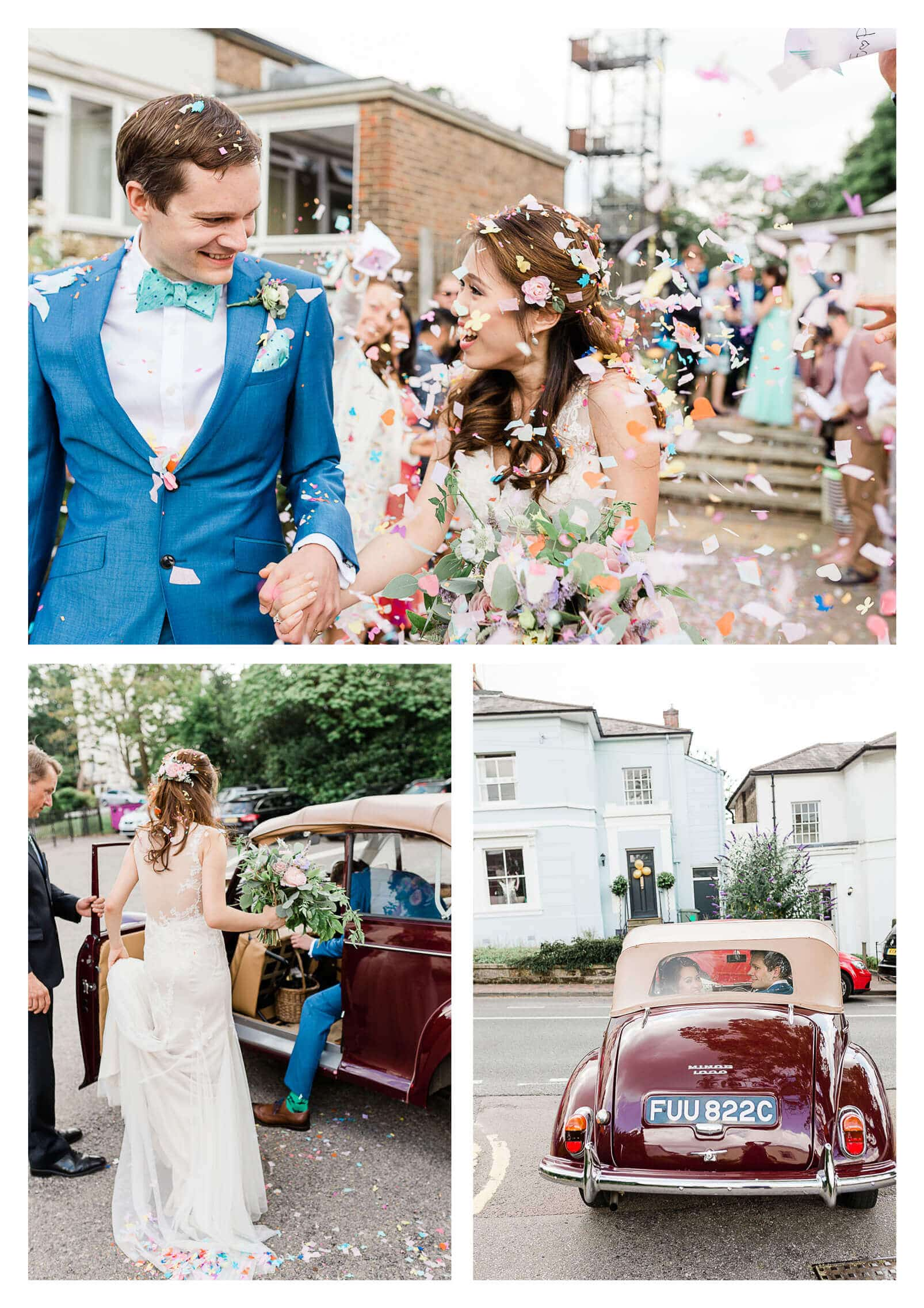 Couple exit with confetti at The Mansion House in Tunbridge Wells | Kent wedding photographer