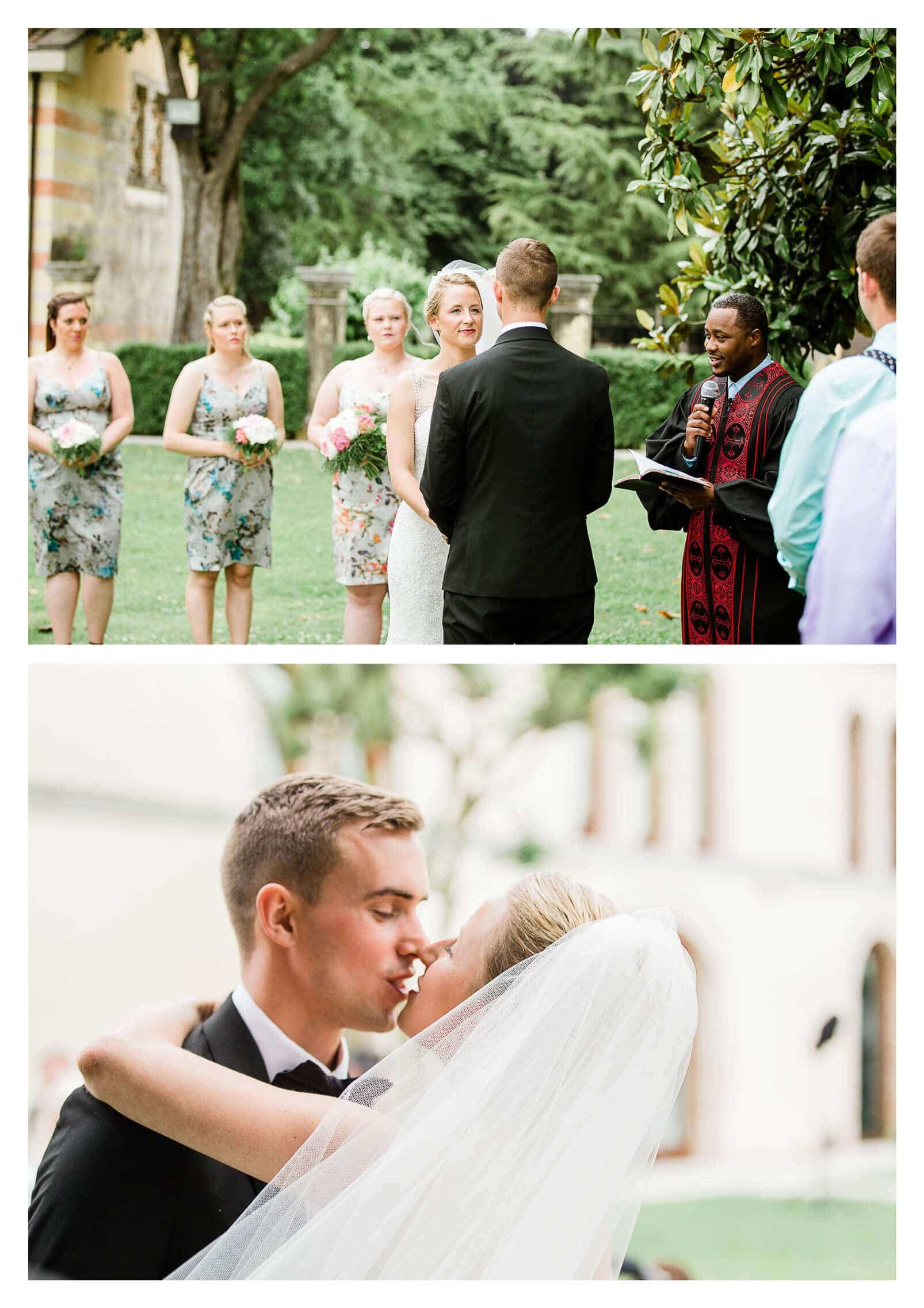 First kiss wedding ceremony at Fossa Mala in Pordenone | Italy destination photographer