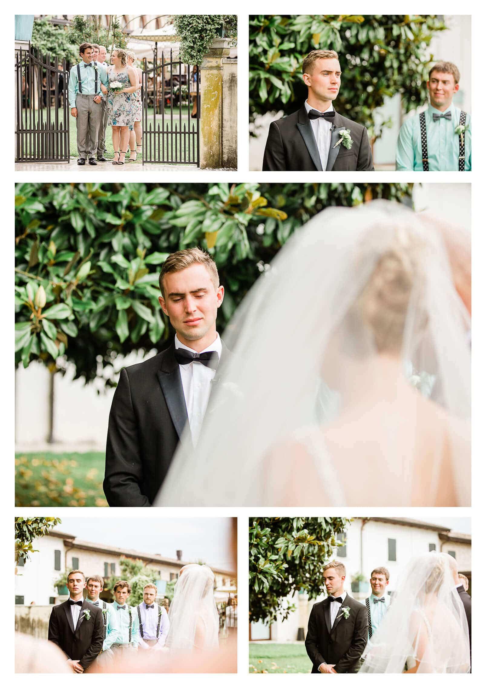 Groom emotional reaction when bride walks down the aisle | Italy wedding photographer-