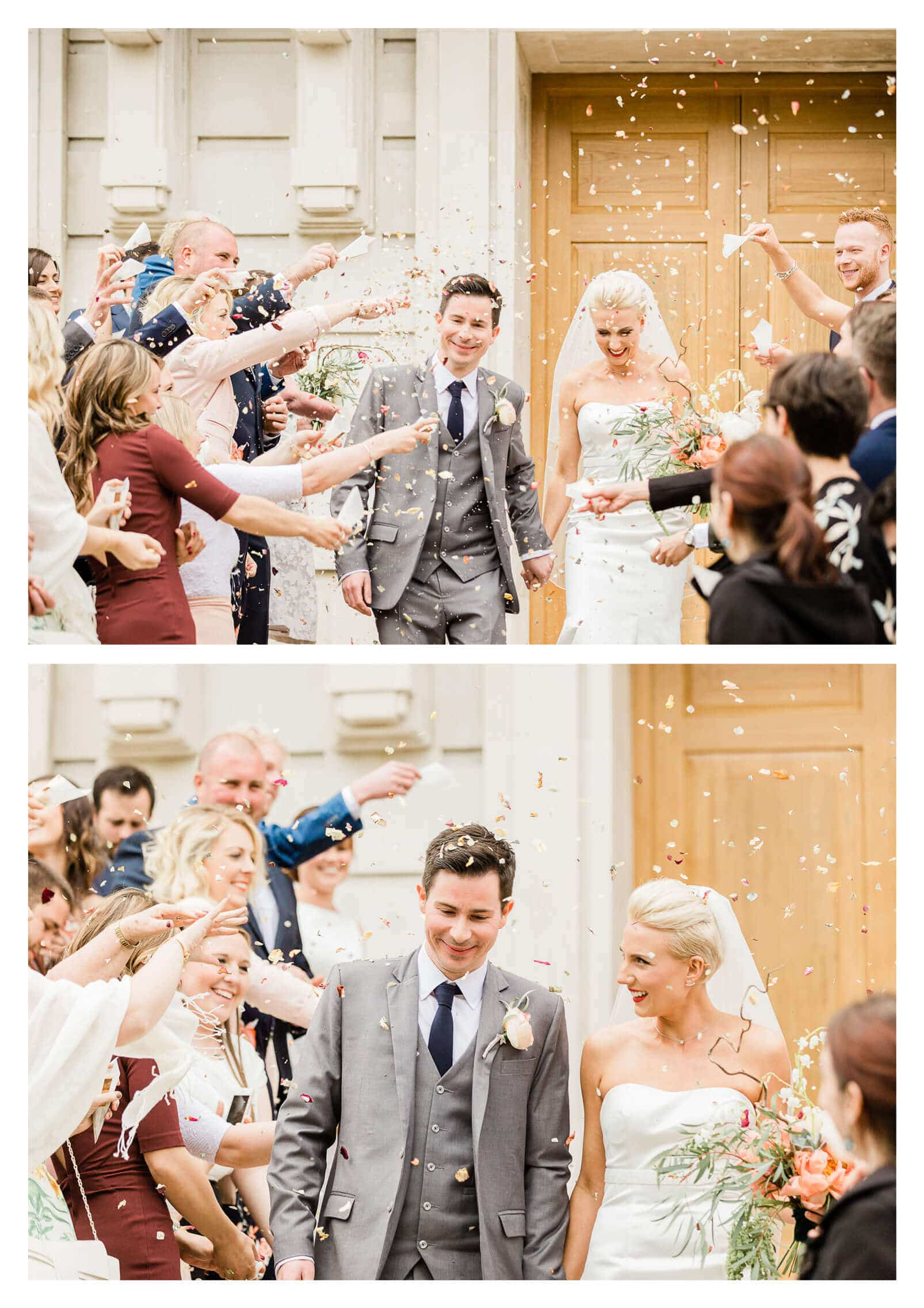 Hackney Town Hall rose petal confetti tunnel | London wedding photographer