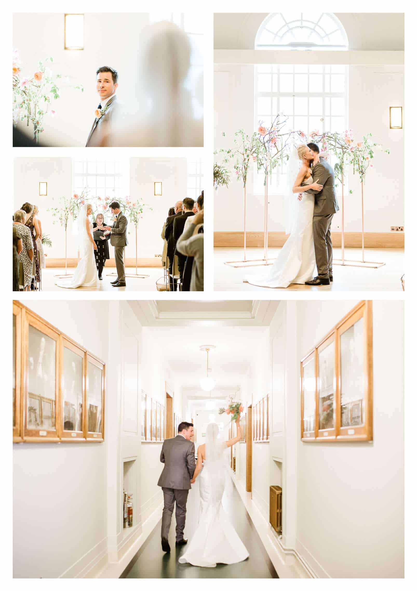 Hackney Town Hall wedding ceremony with copper and floral arch London photographer