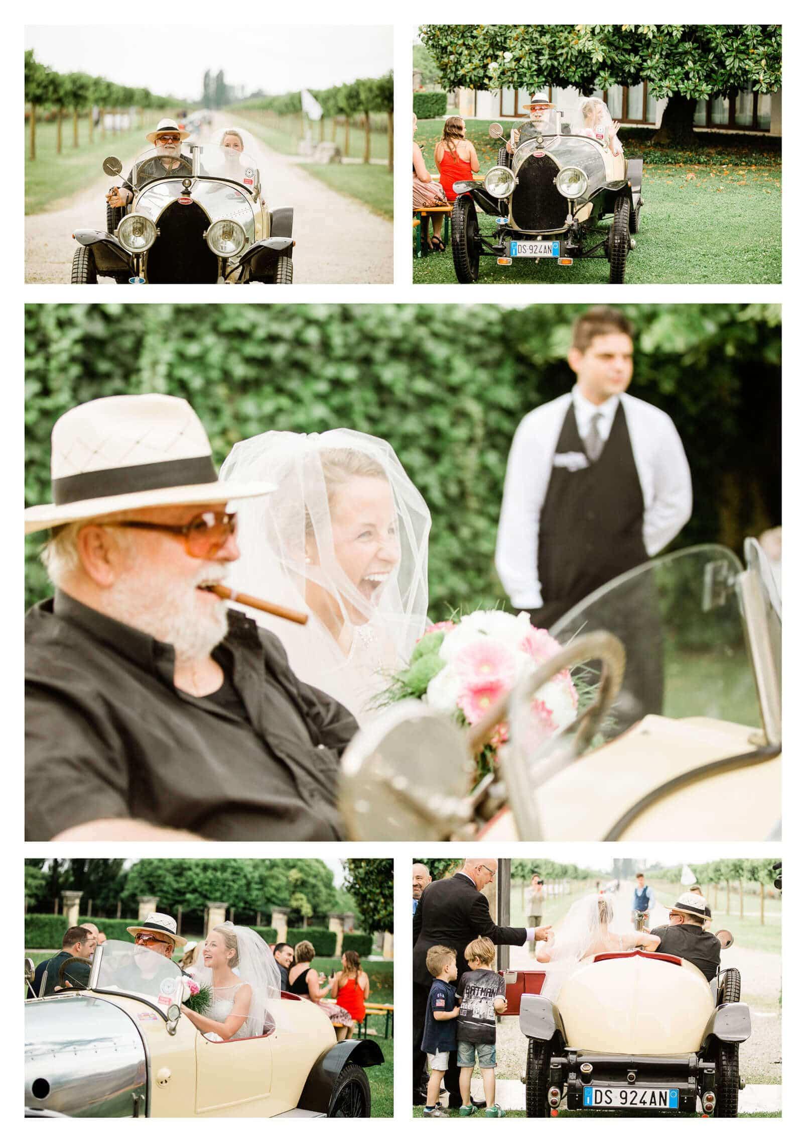 classic bugatti wedding car takes bride down the aisle | Italy wedding photographer