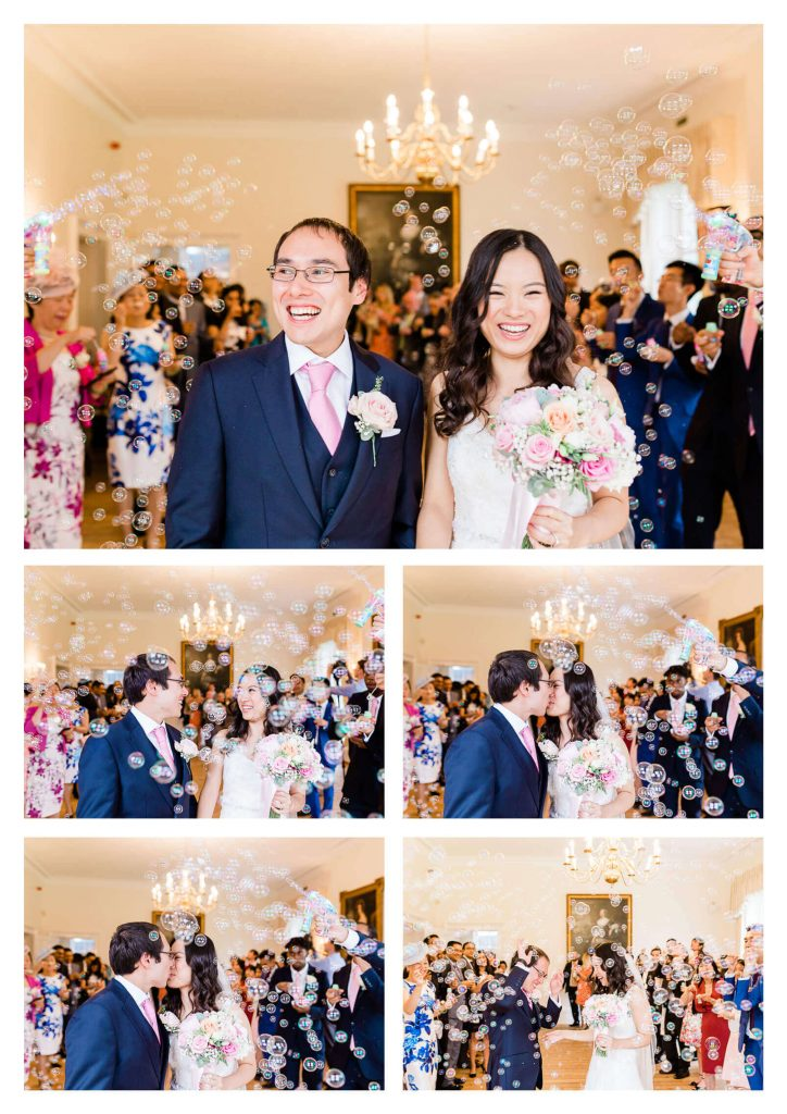 Bubble confetti tunnel at Cambridge Cottage | Kew Gardens wedding photographer