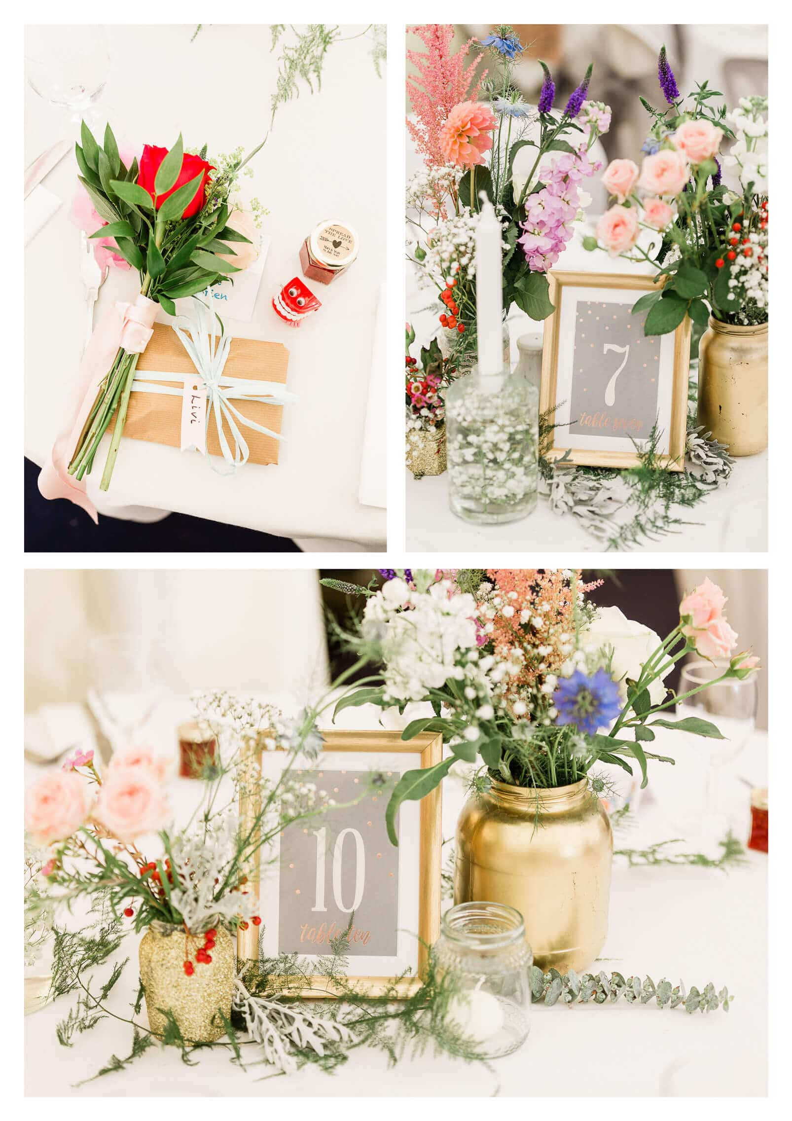 Floral table decorations at Lewes Inn wedding venue | Lewes photographer