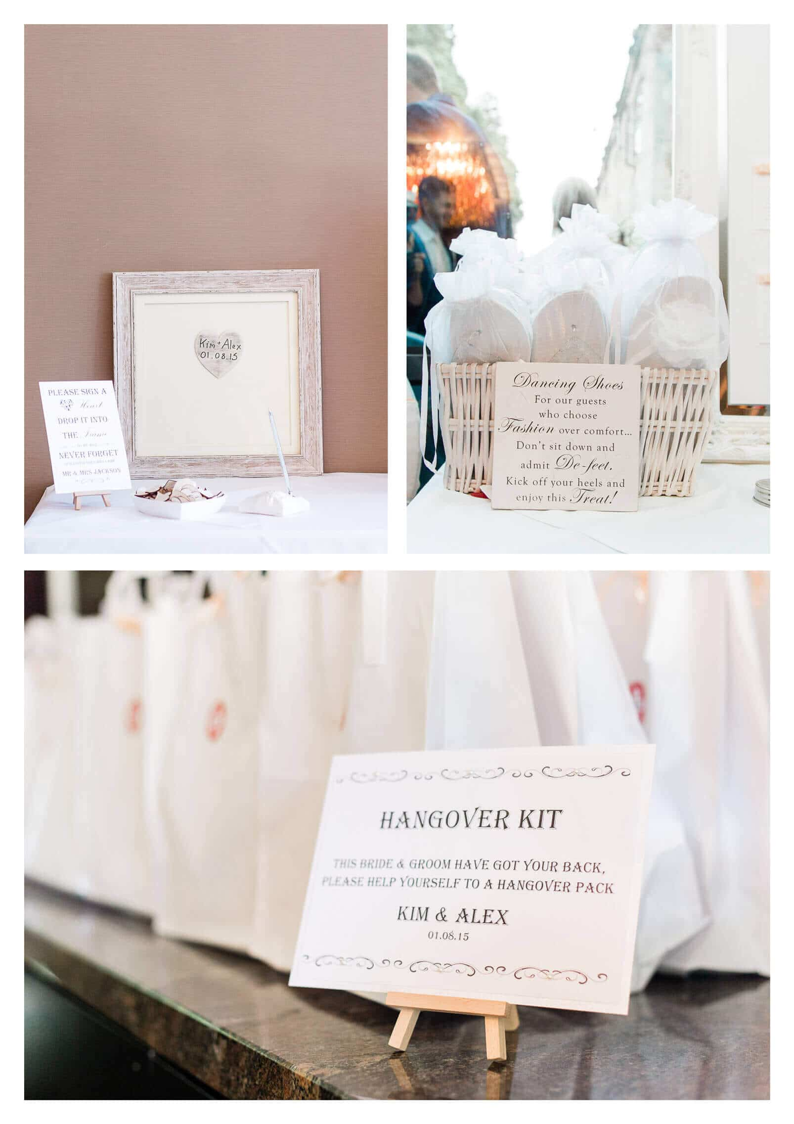 Guest book and wedding favours hangover kit | Rhinefield House Hotel wedding photography