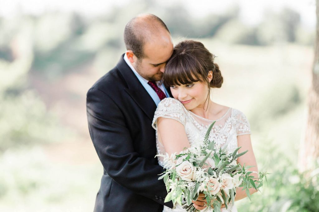 Midhurst marquee estate wedding couple portrait on South Downs | Midhurst photographer