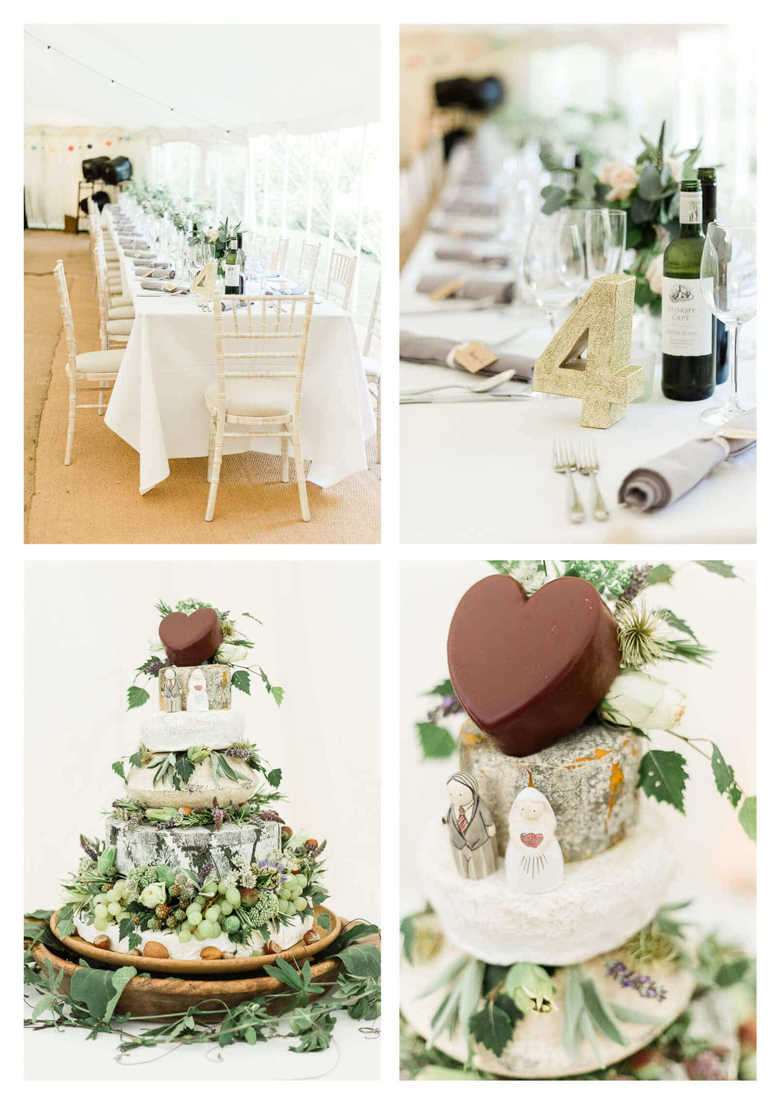 Woolbeding Midhurst marquee estate wedding decor and cheese tiered cake with grapes | West Sussex wedding photographer