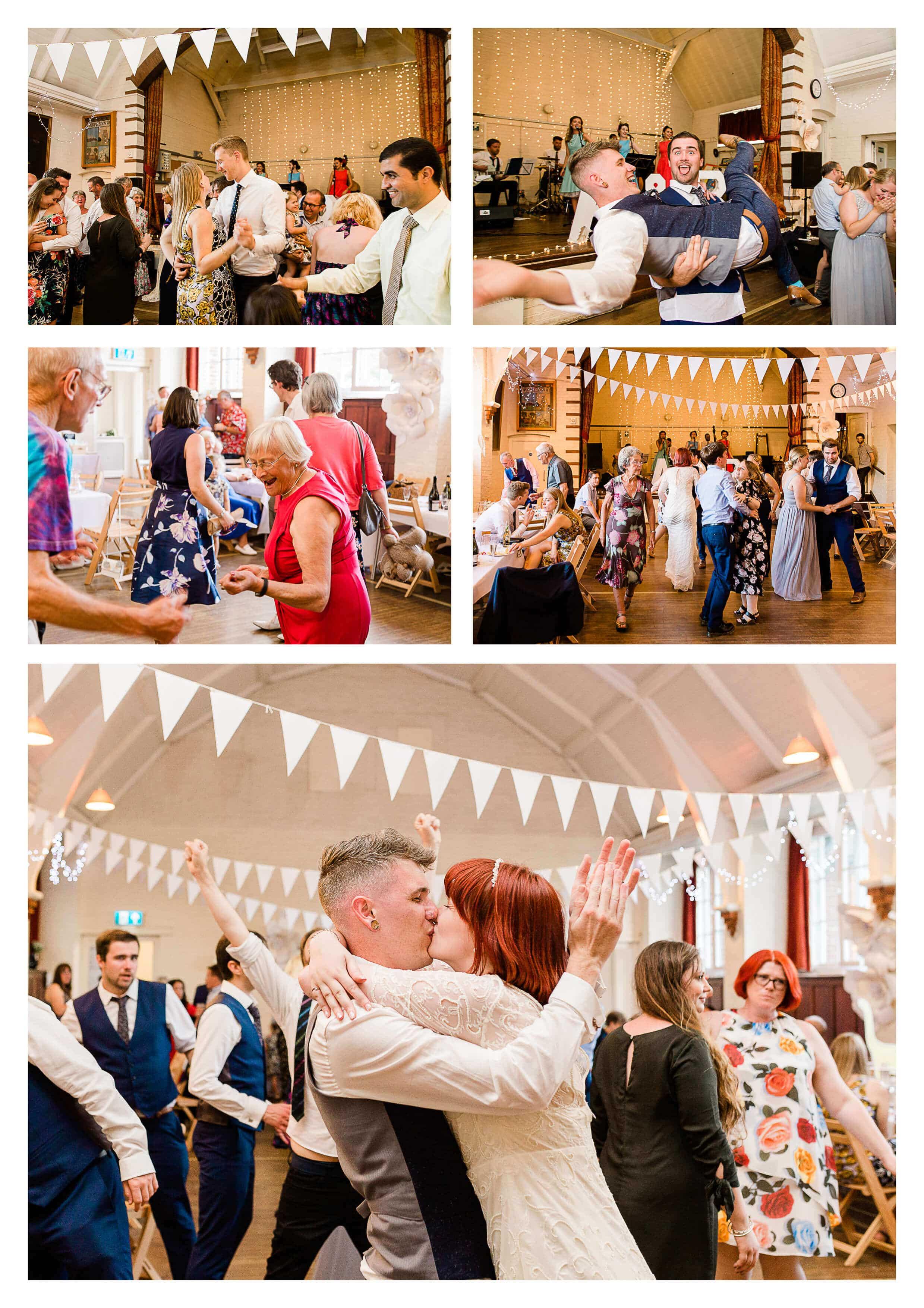 Worplesdon Memorial Hall wedding reception disco in Surrey | Guildford photographer