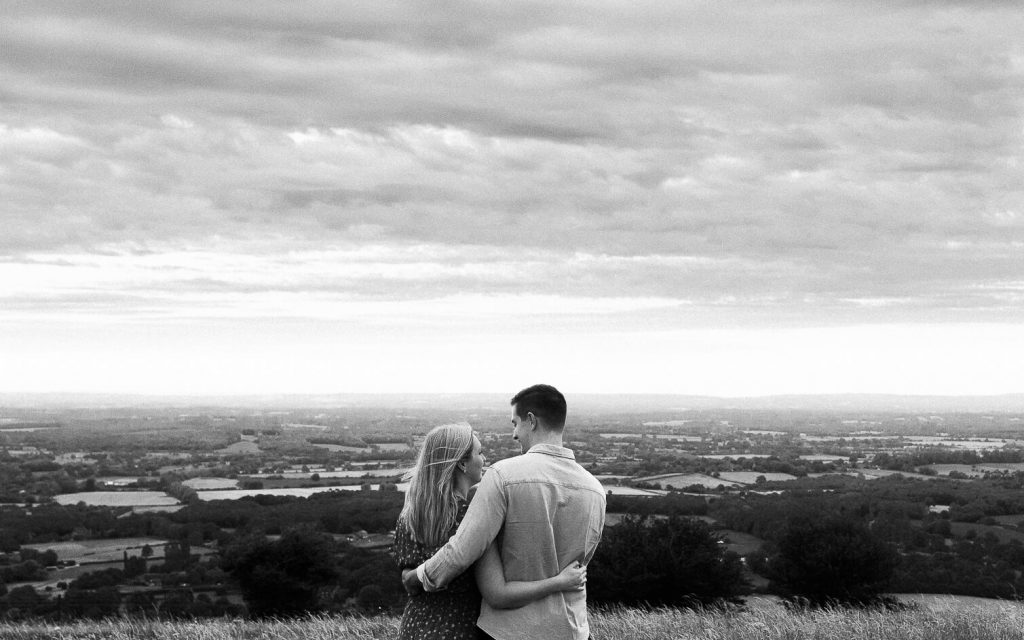 Brighton engagement photography on South Downs at Ditchling Beacon