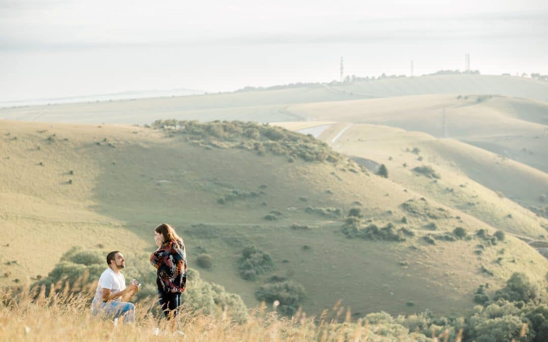 Surprise proposal at Devils Dyke on the South Downs in Brighton