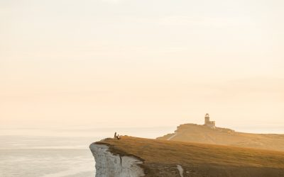 Proposal at Beachy Head during sunset