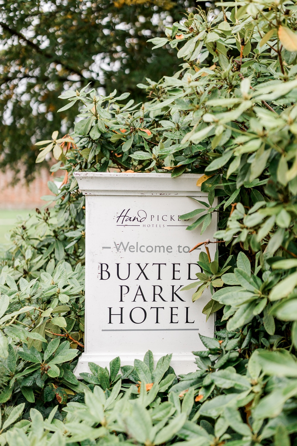 Buxted Park Hotel sign greeting when planning a surprise proposal