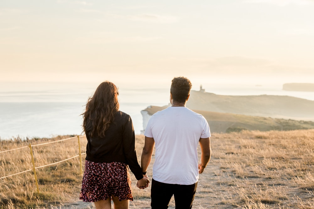 engagement proposal at beachy head with Brighton photographer