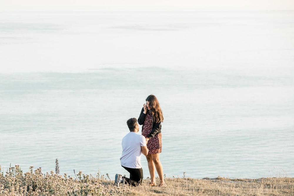 sunset proposal at beachy head engagement with Brighton photographer