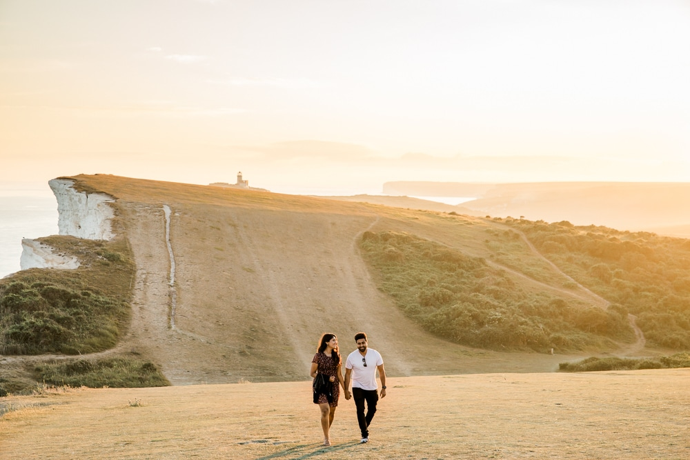 surprise engagement at beachy head with Brighton photographer