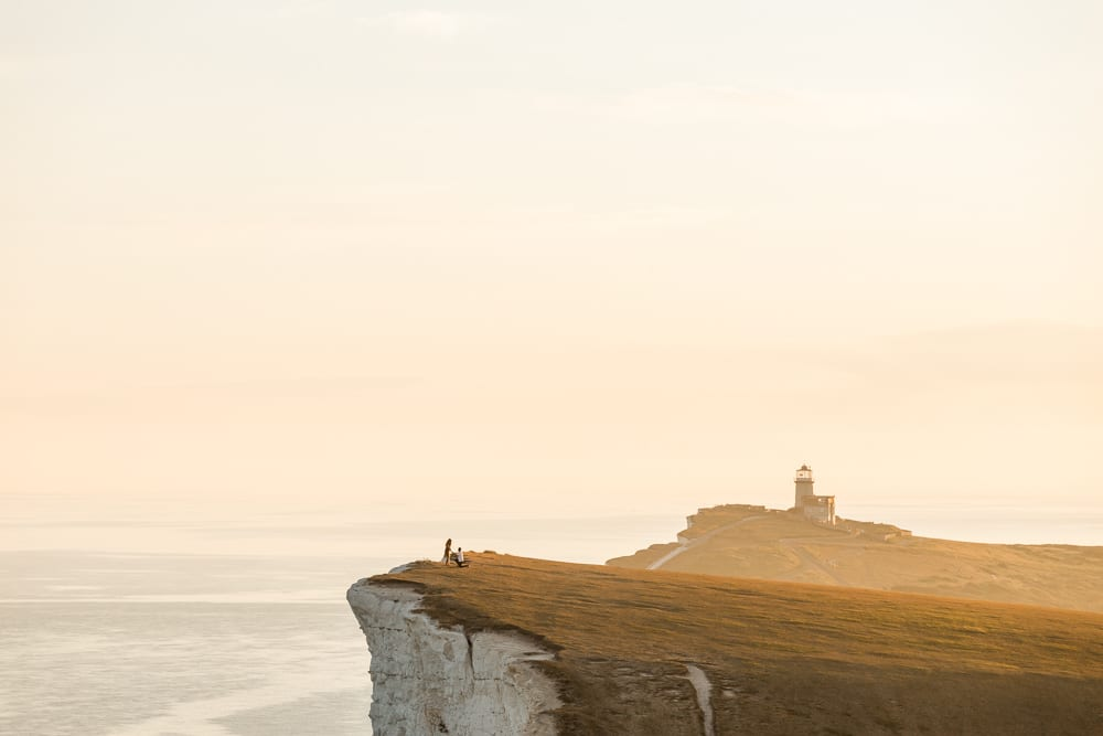 surprise engagement proposal at beachy head with Brighton photographer