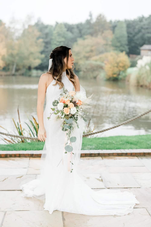 Autumn Brookfield Barn wedding photos of bride
