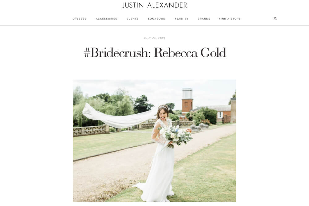 Buxted Park wedding photos feature in Justin Alexander Bride Crush blog