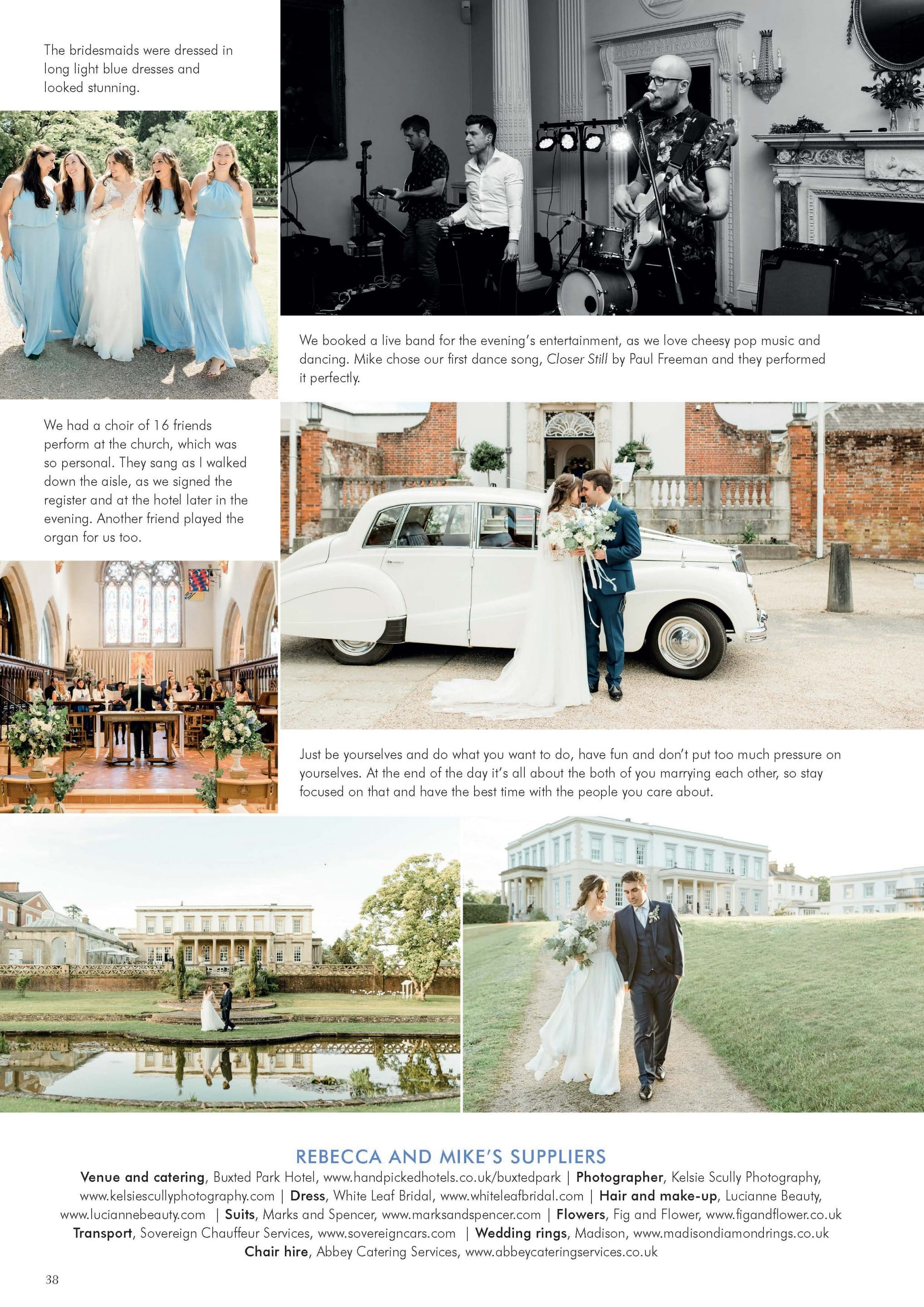 Buxted Park wedding photos in Your Sussex Wedding - photographer feature