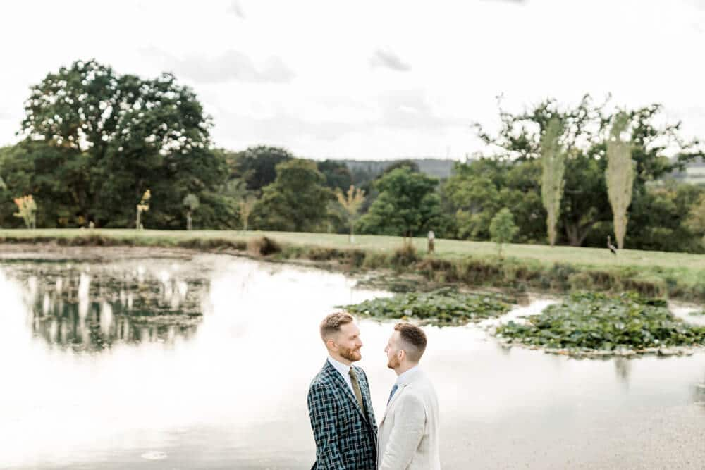 Greentrees Estate wedding couple portraits by pond