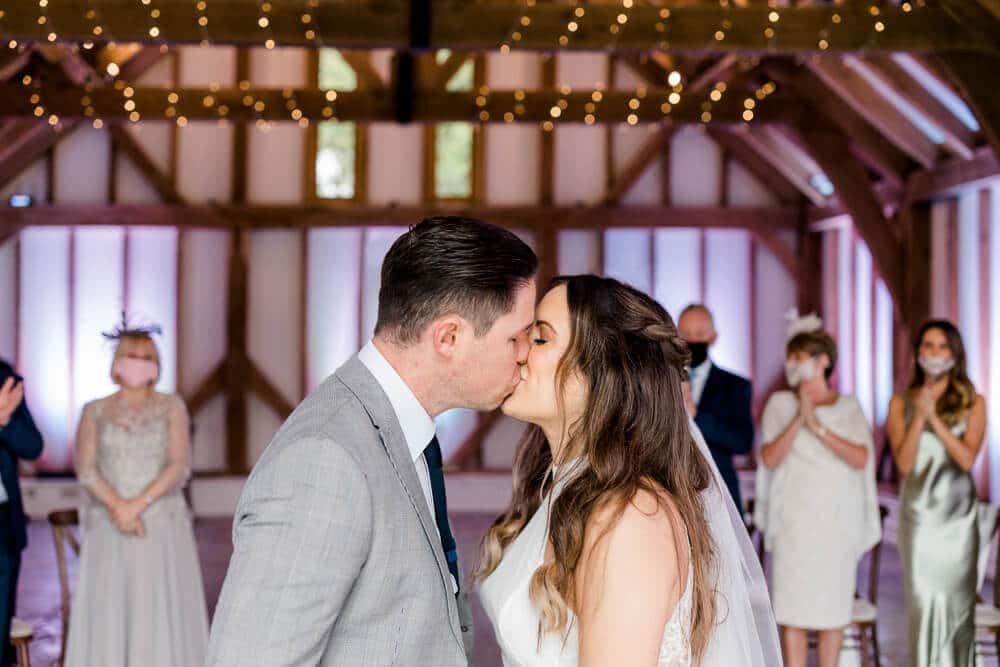 small indoor ceremony at Brookfield Barn wedding photos