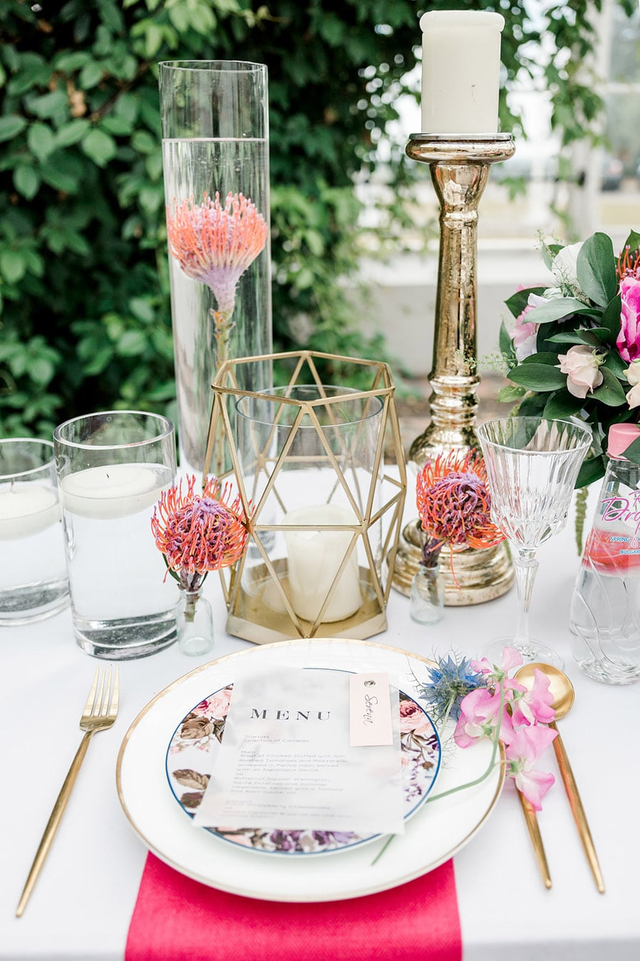 table decor inspiration for reception at Slindon House wedding