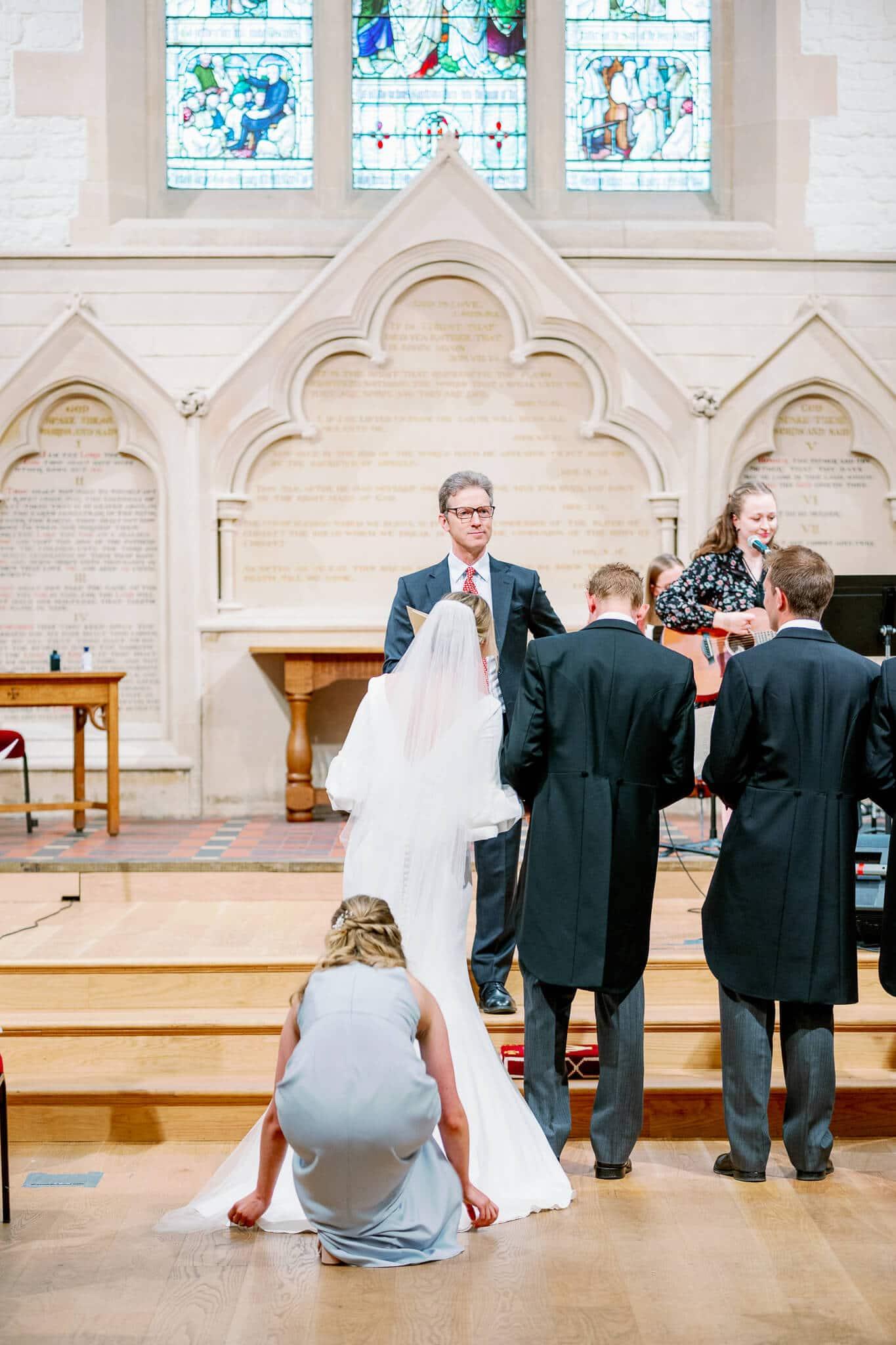 Brid and Groom St Ebbs church wedding ceremony in Oxford