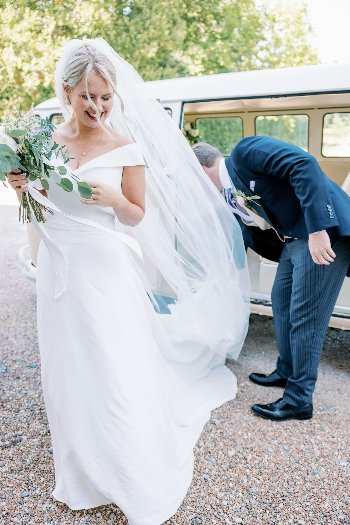 Bride arrival at Brickwall House wedding venue in Rye