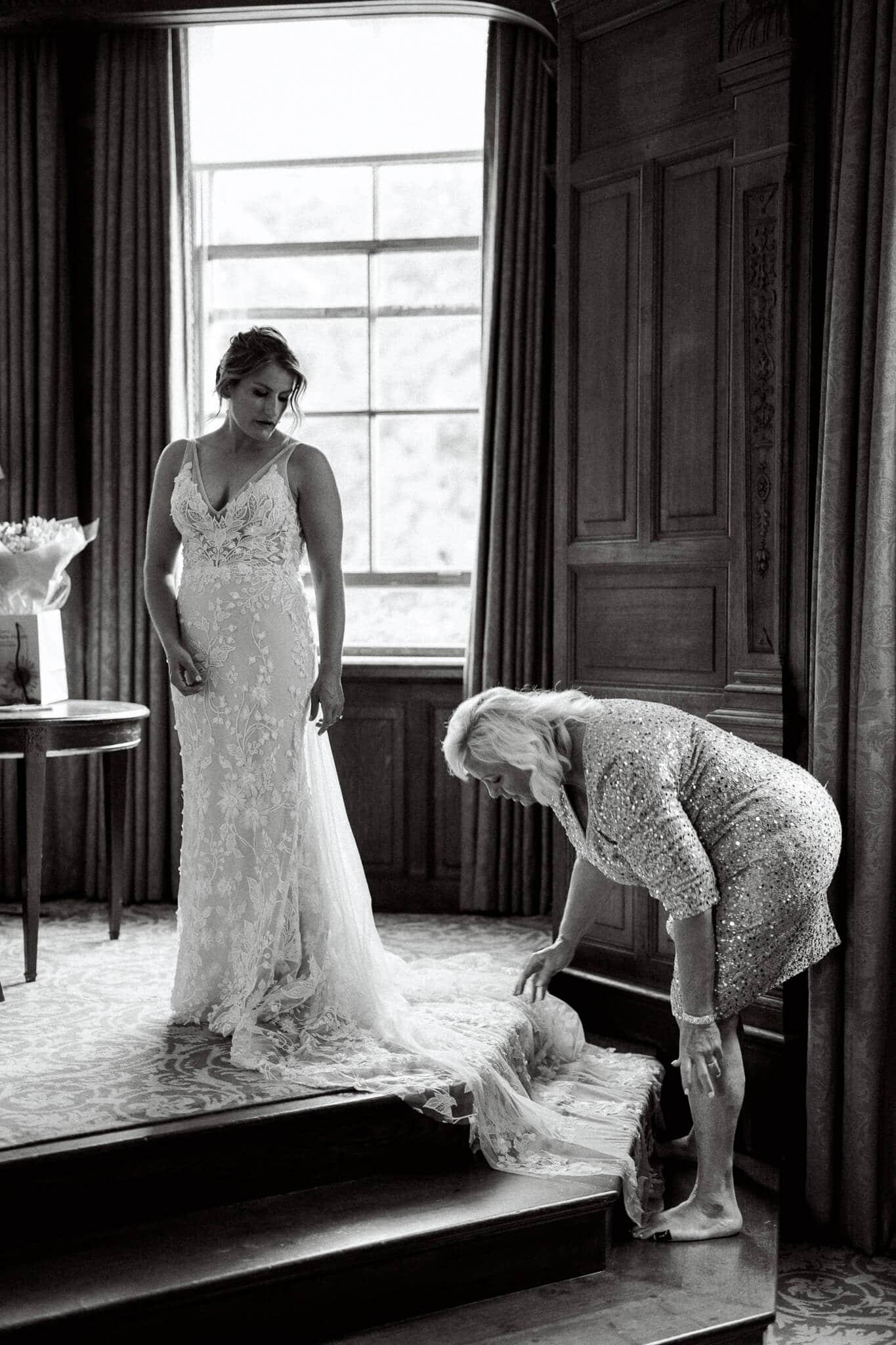 Cliveden hotel Bridal suite getting ready