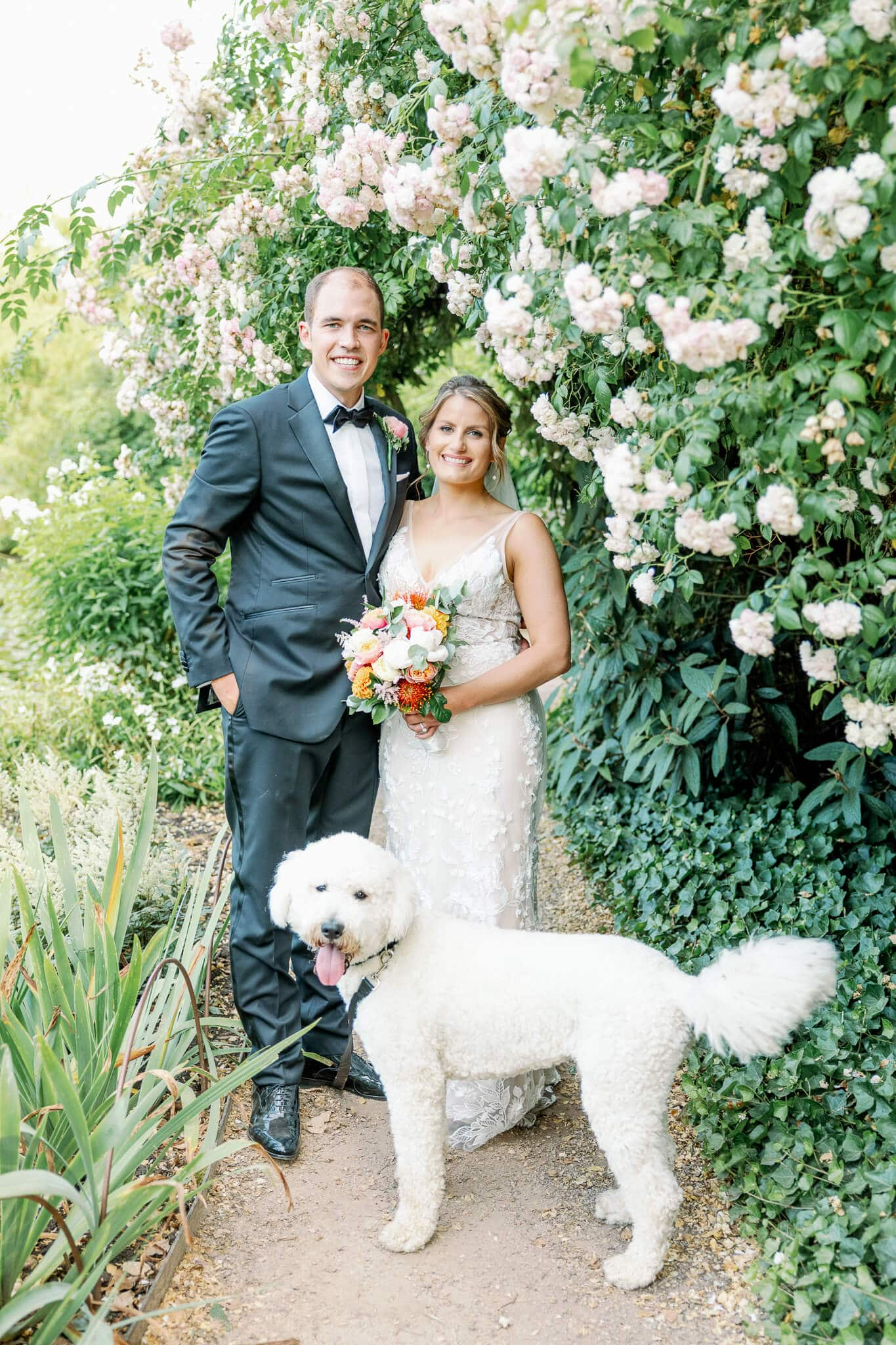 Cliveden House wedding photography with dog in Japanese Gardens | Wedding locations Berkshire