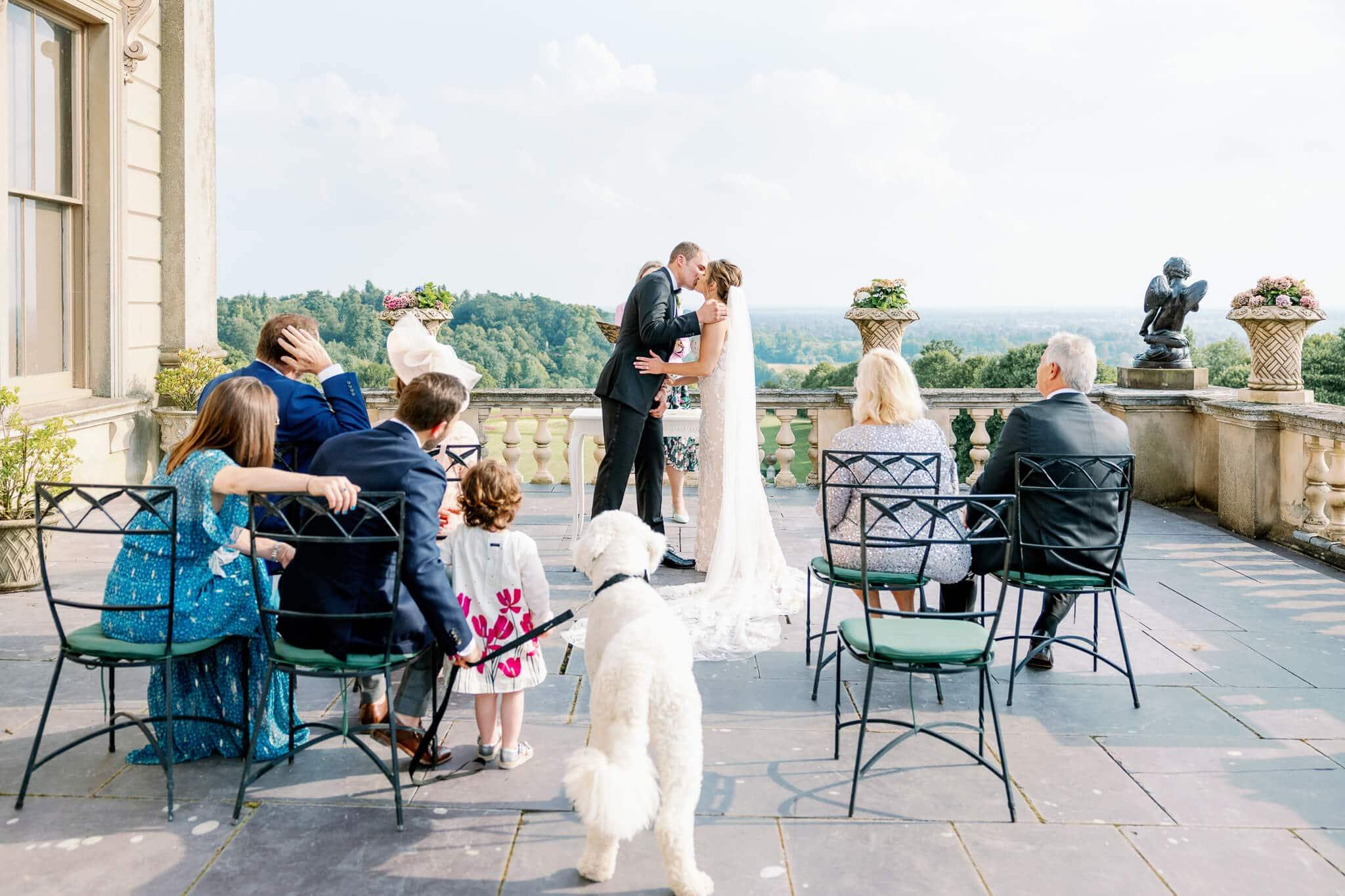 Cliveden House weddings dog friendly ceremony on terrace | Cliveden House Wedding Photographer