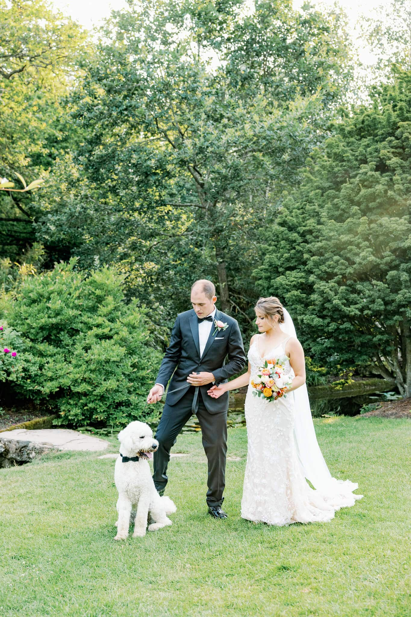 Couple portraits with dog at best small intimate wedding venues berkshire