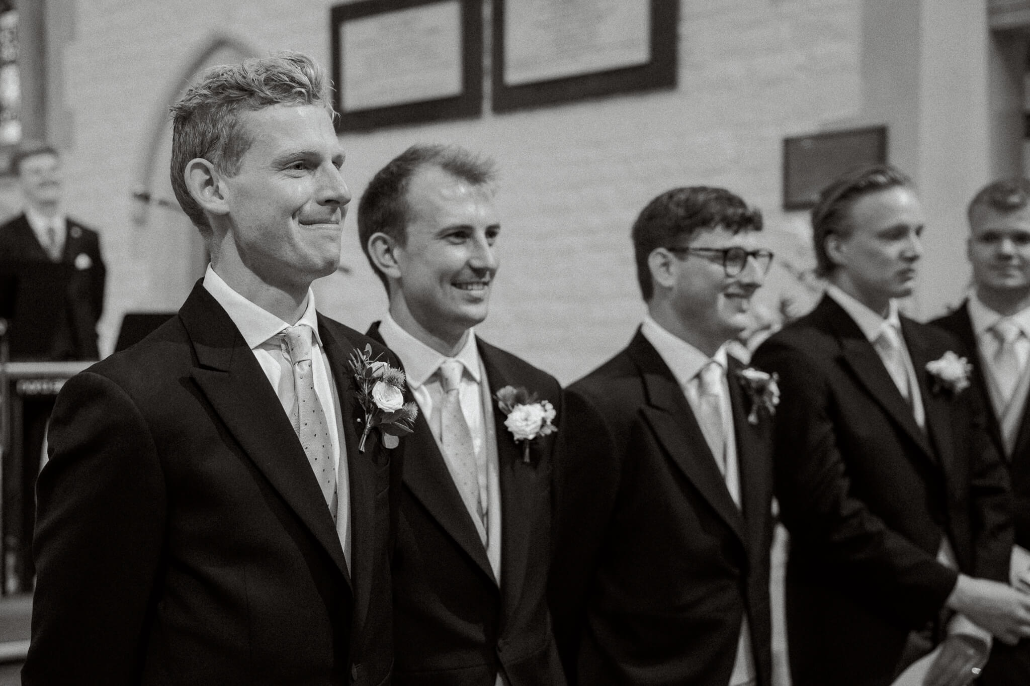 Groom reaction at Oxfordshire wedding in church