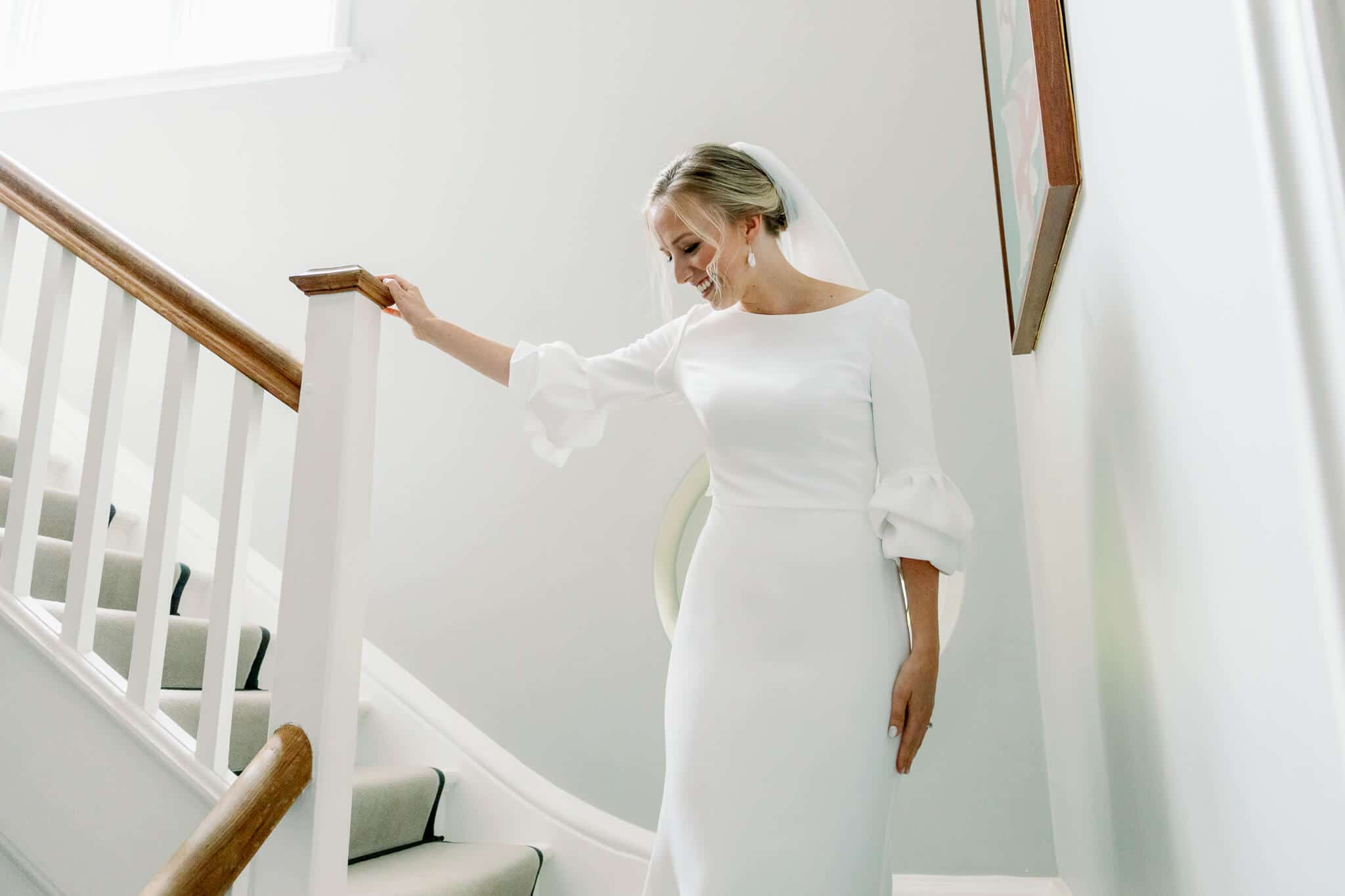 Lains Barns wedding of Bride in Suzanne Neville Dress