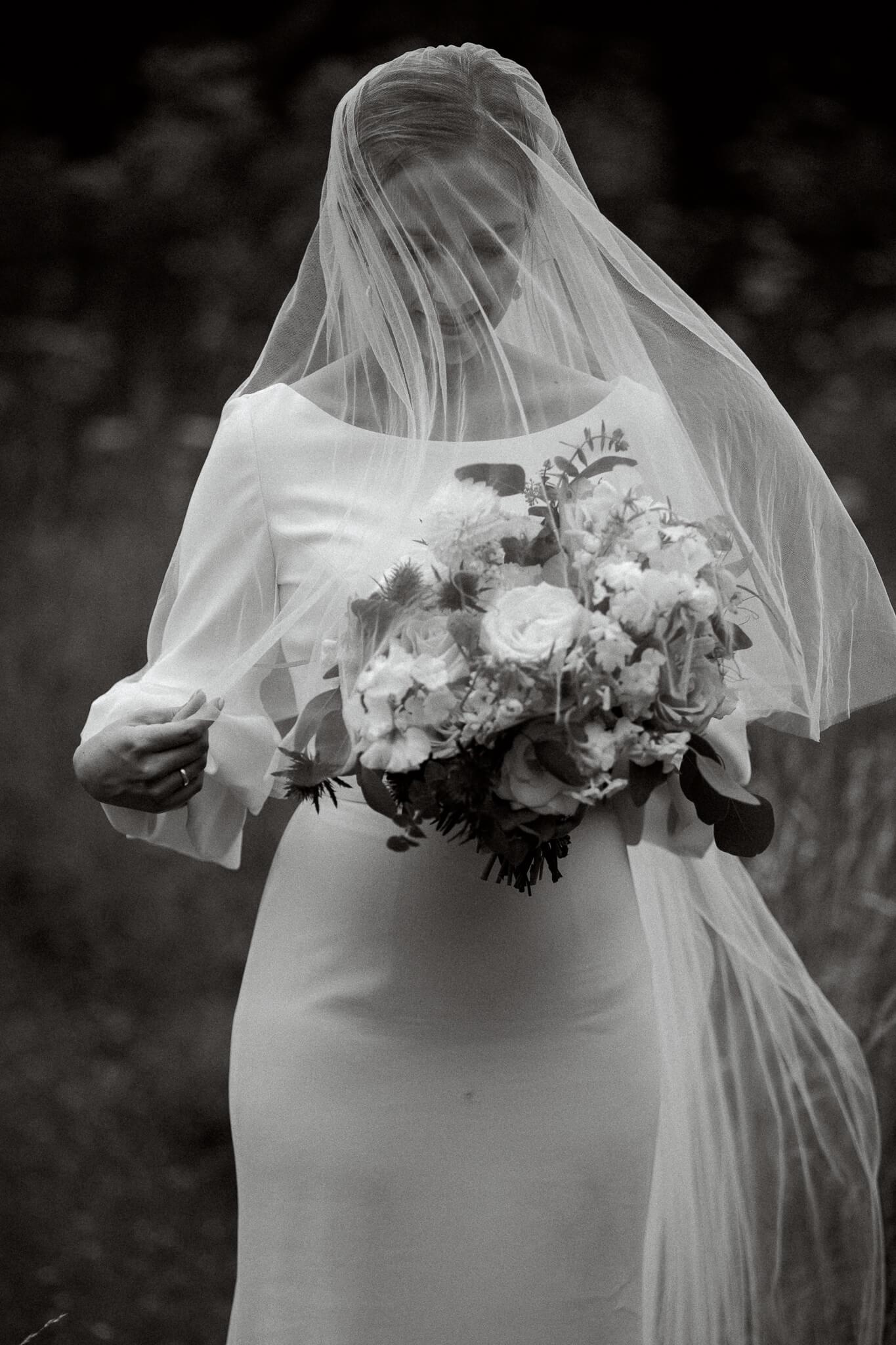 Lains Barn wedding photography of Bride