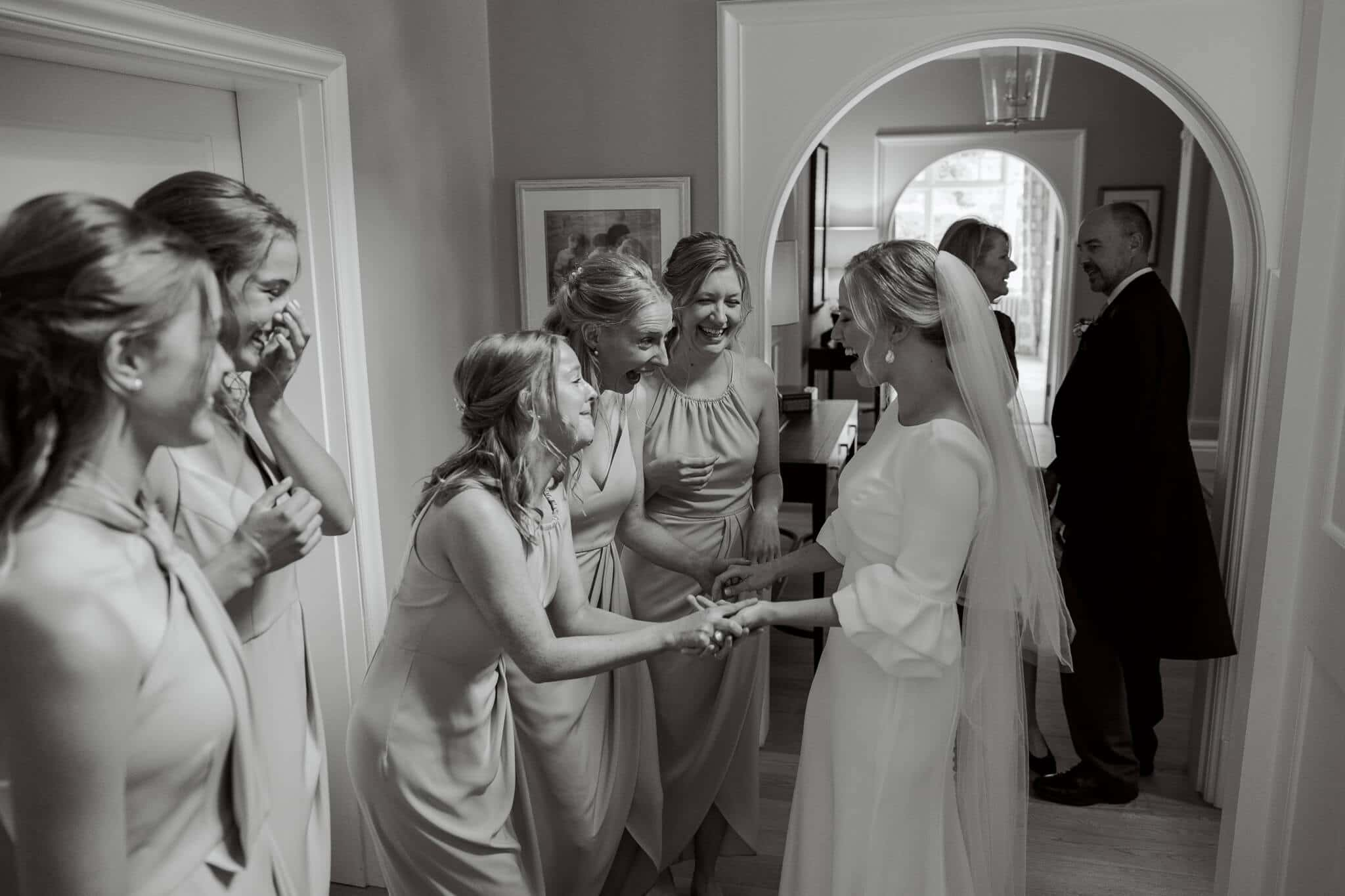 Lains Barn wedding photos Bride reveal to guests