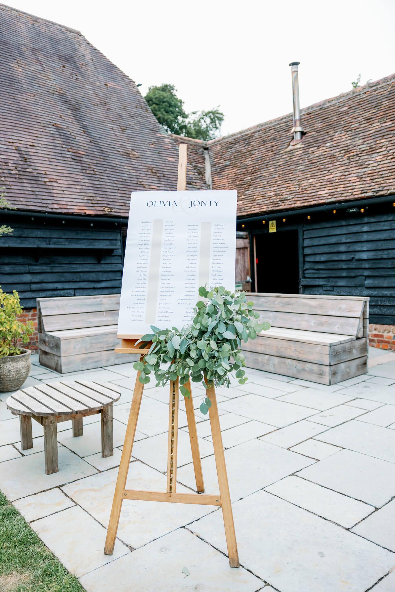 Lains Barn wedding seating table chart