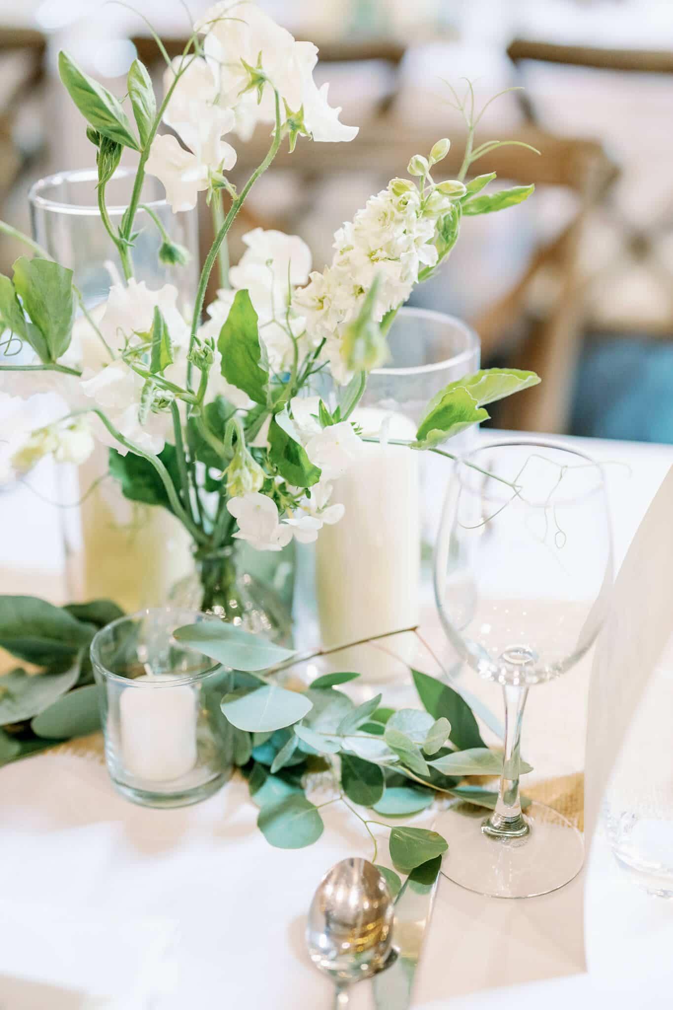 Lains Barns wedding decor centrepiece