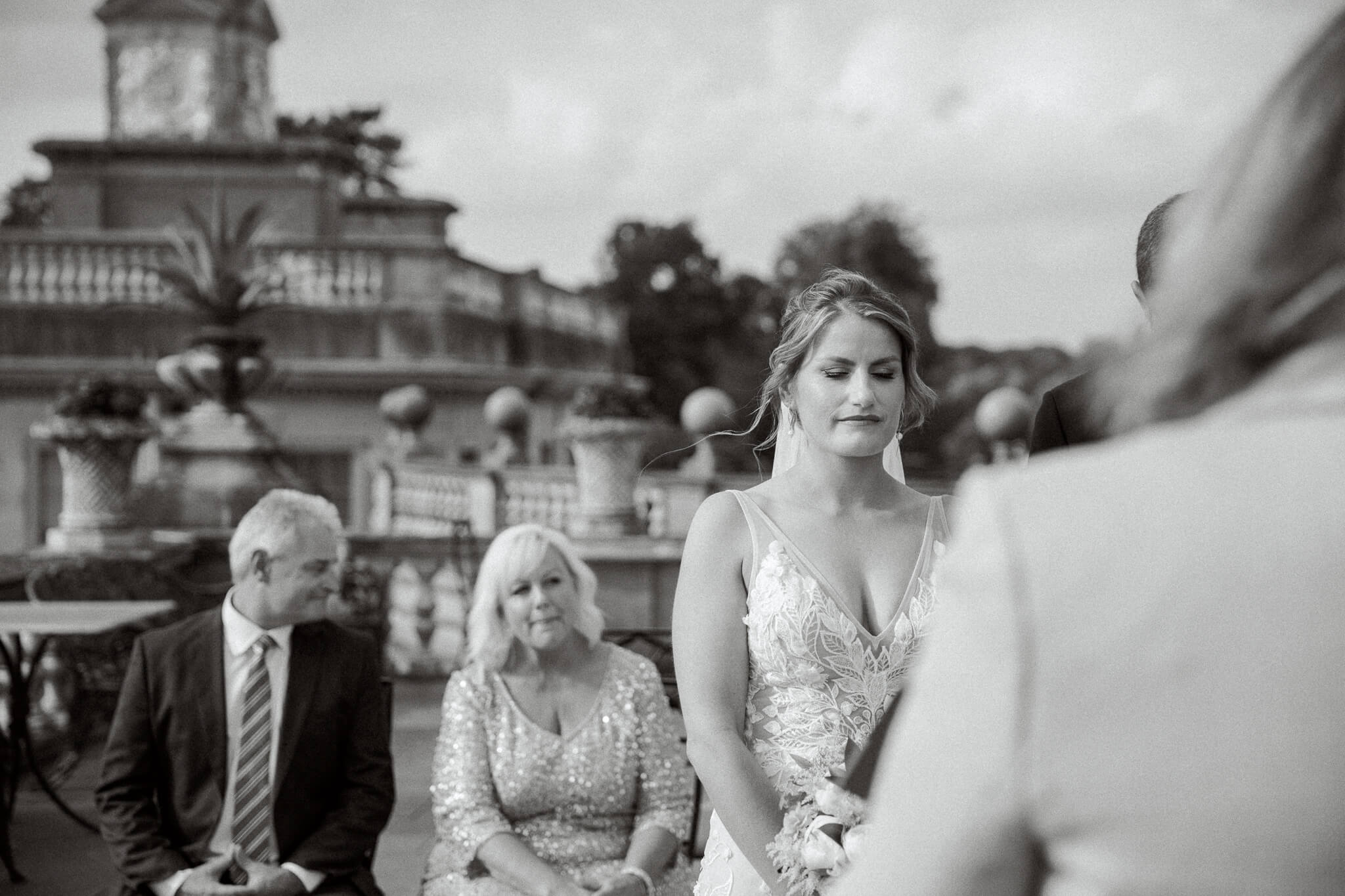 Outdoor ceremony on terrace at Cliveden Hotel in Maidenhead | Berkshire weddings