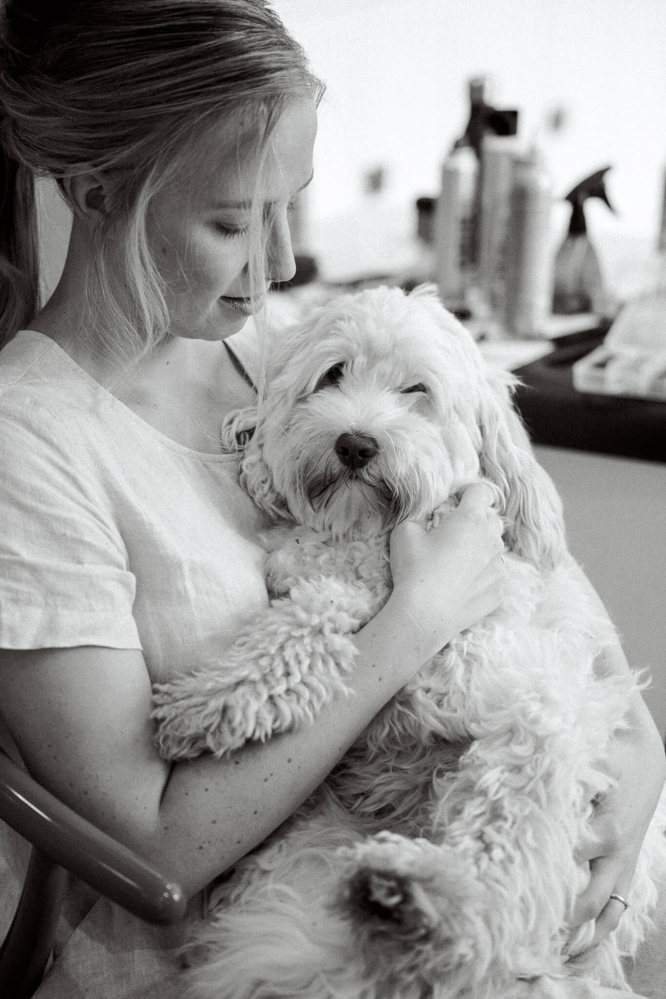 Oxford wedding photo of bride with dog