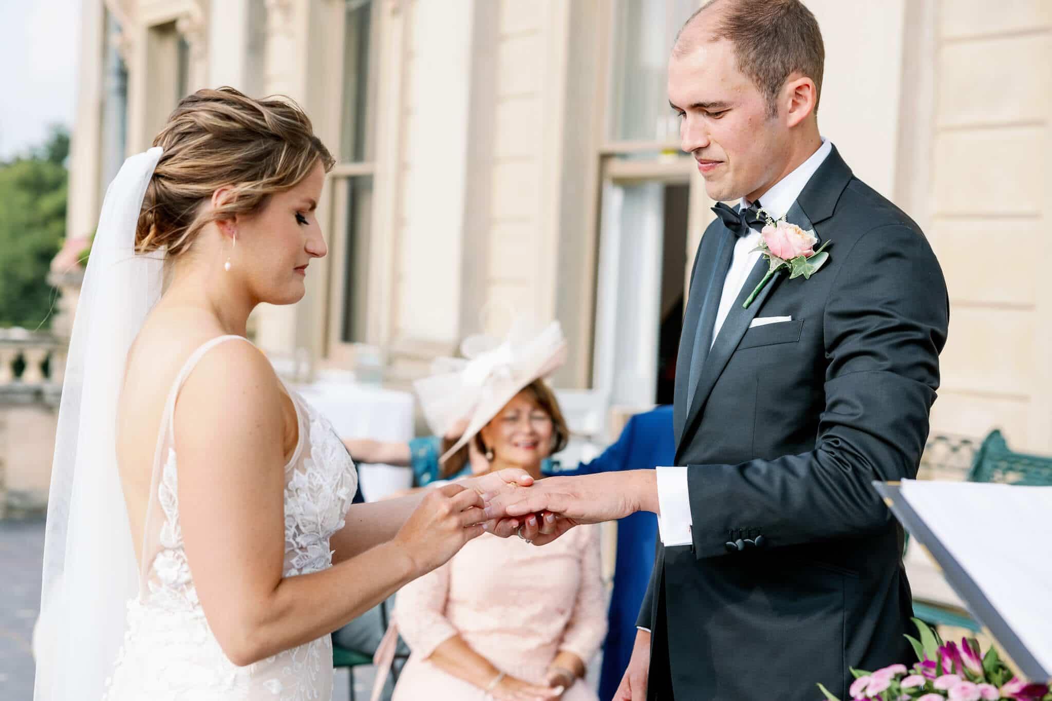Ring exchange outdoor ceremony | Wedding venues west london