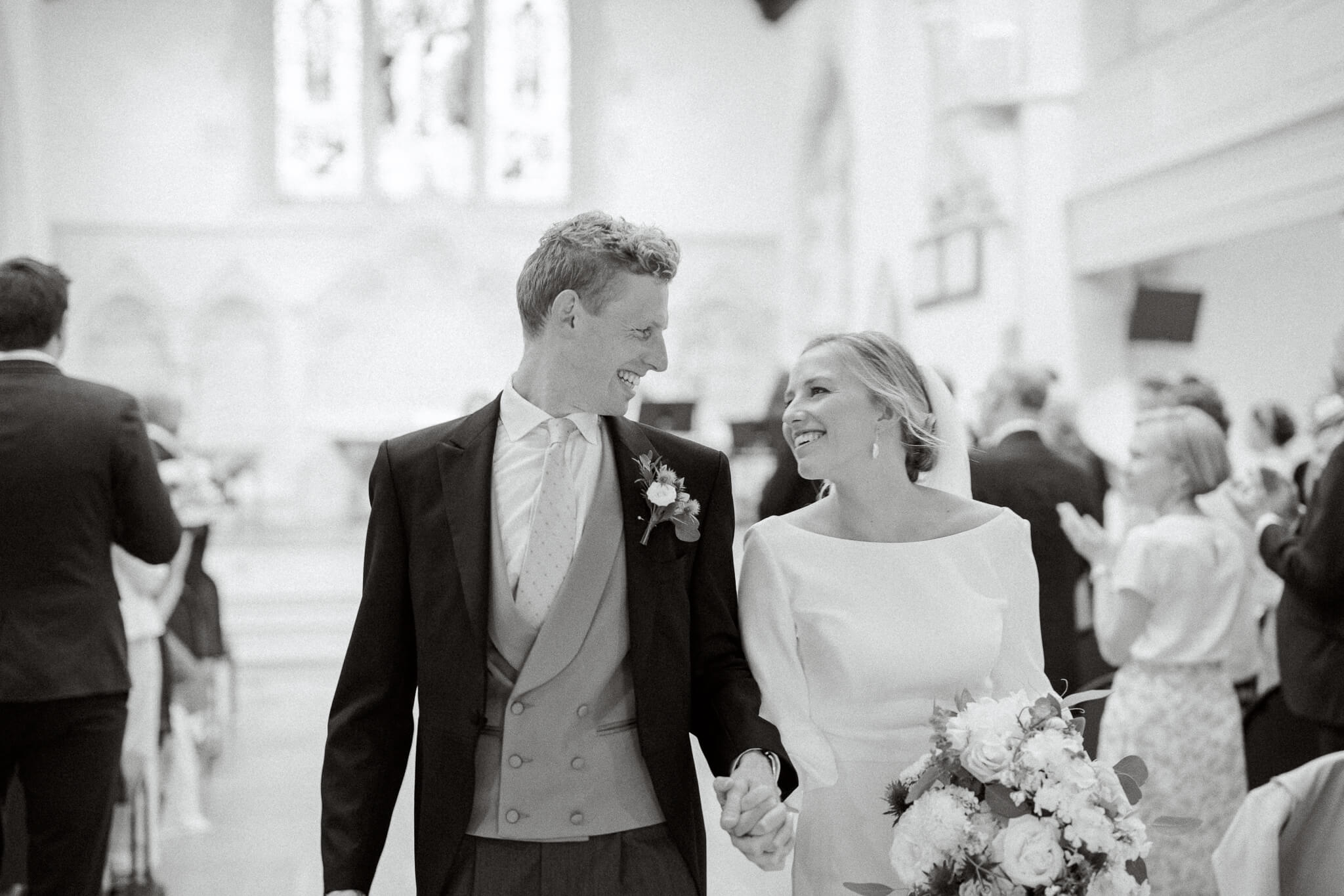 St Ebbs church wedding photography with couple