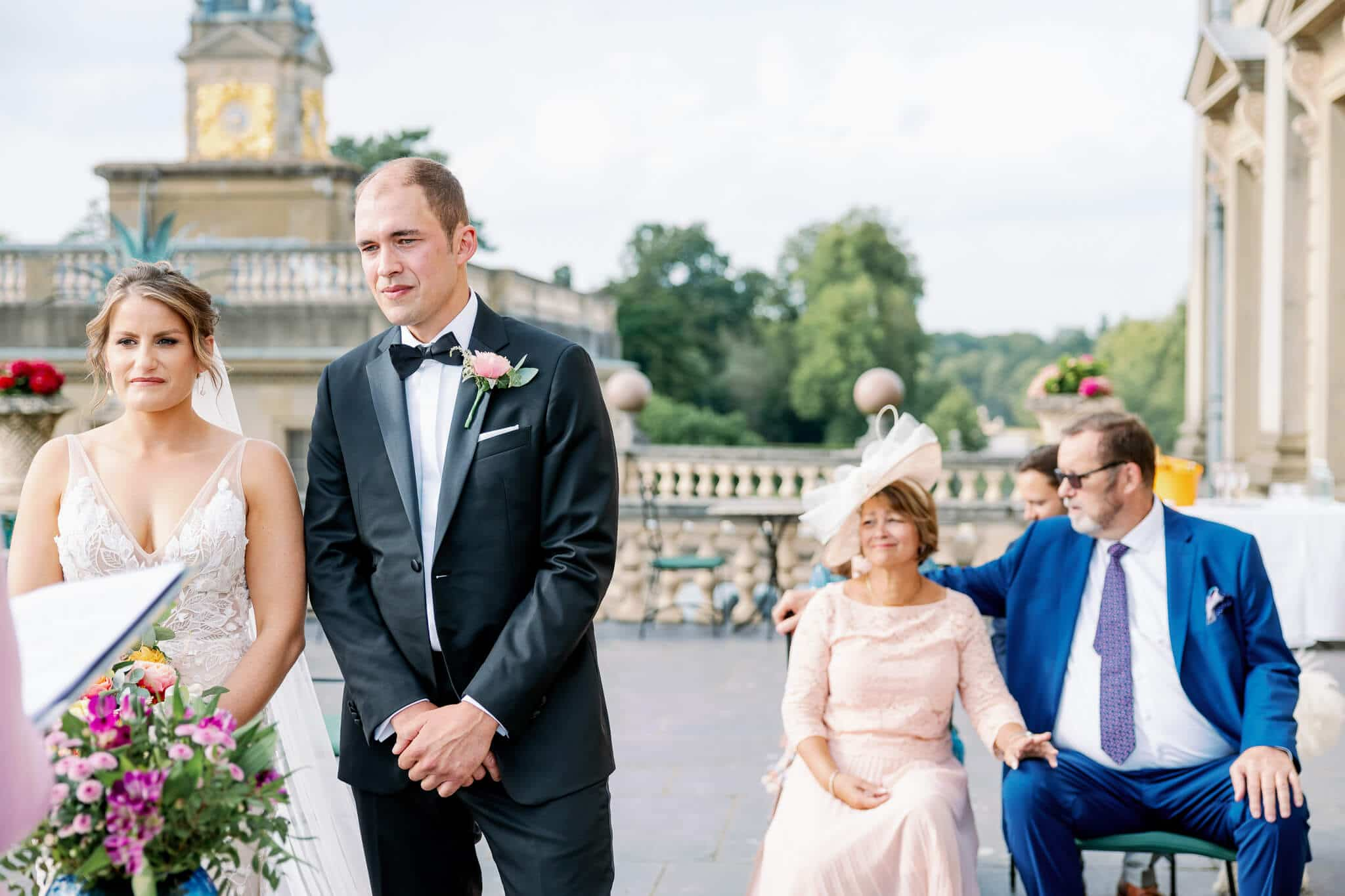 Terrace outdoor ceremony at Cliveden House wedding